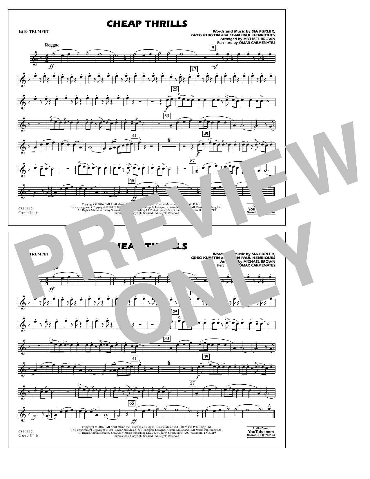 Cheap Thrills - 1st Bb Trumpet Sheet Music