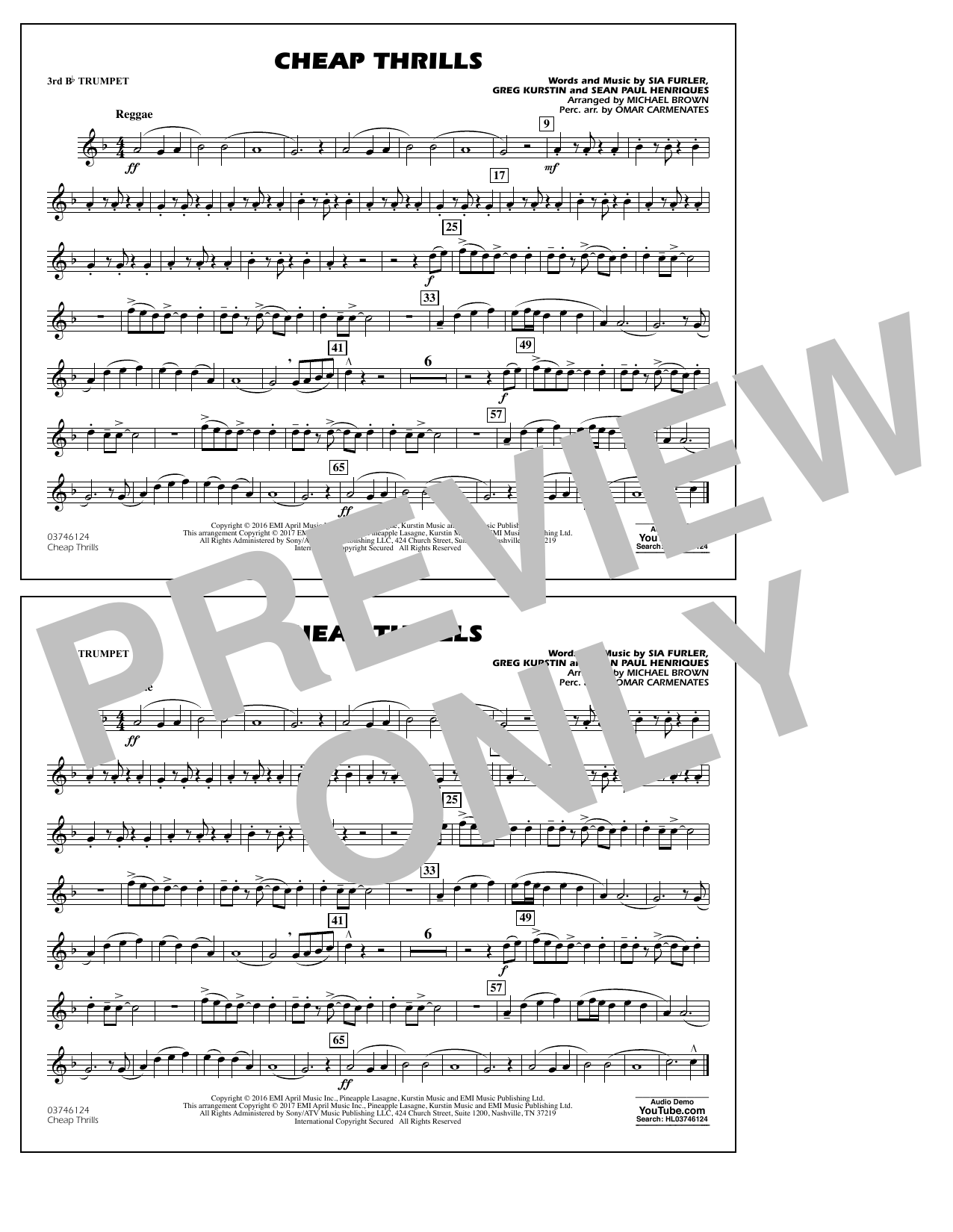 Cheap Thrills - 3rd Bb Trumpet Sheet Music