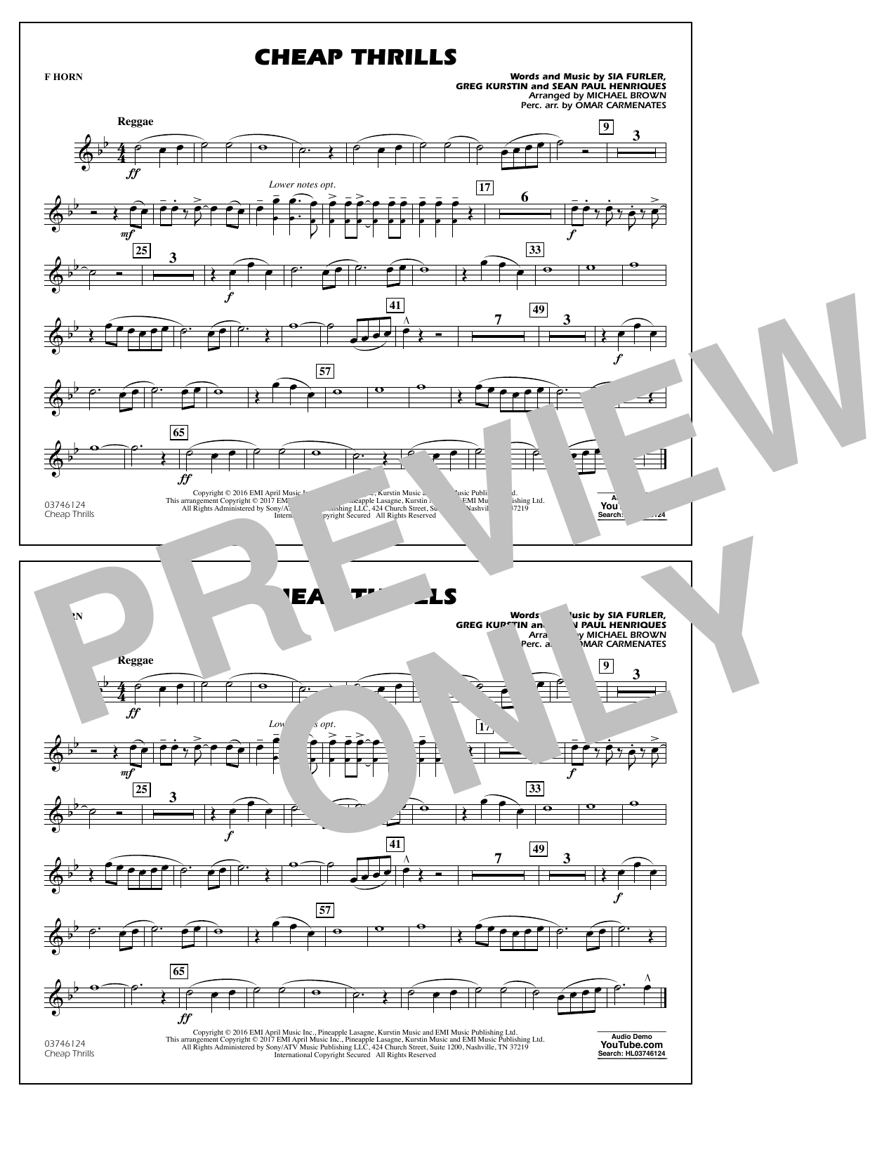 Cheap Thrills - F Horn Sheet Music