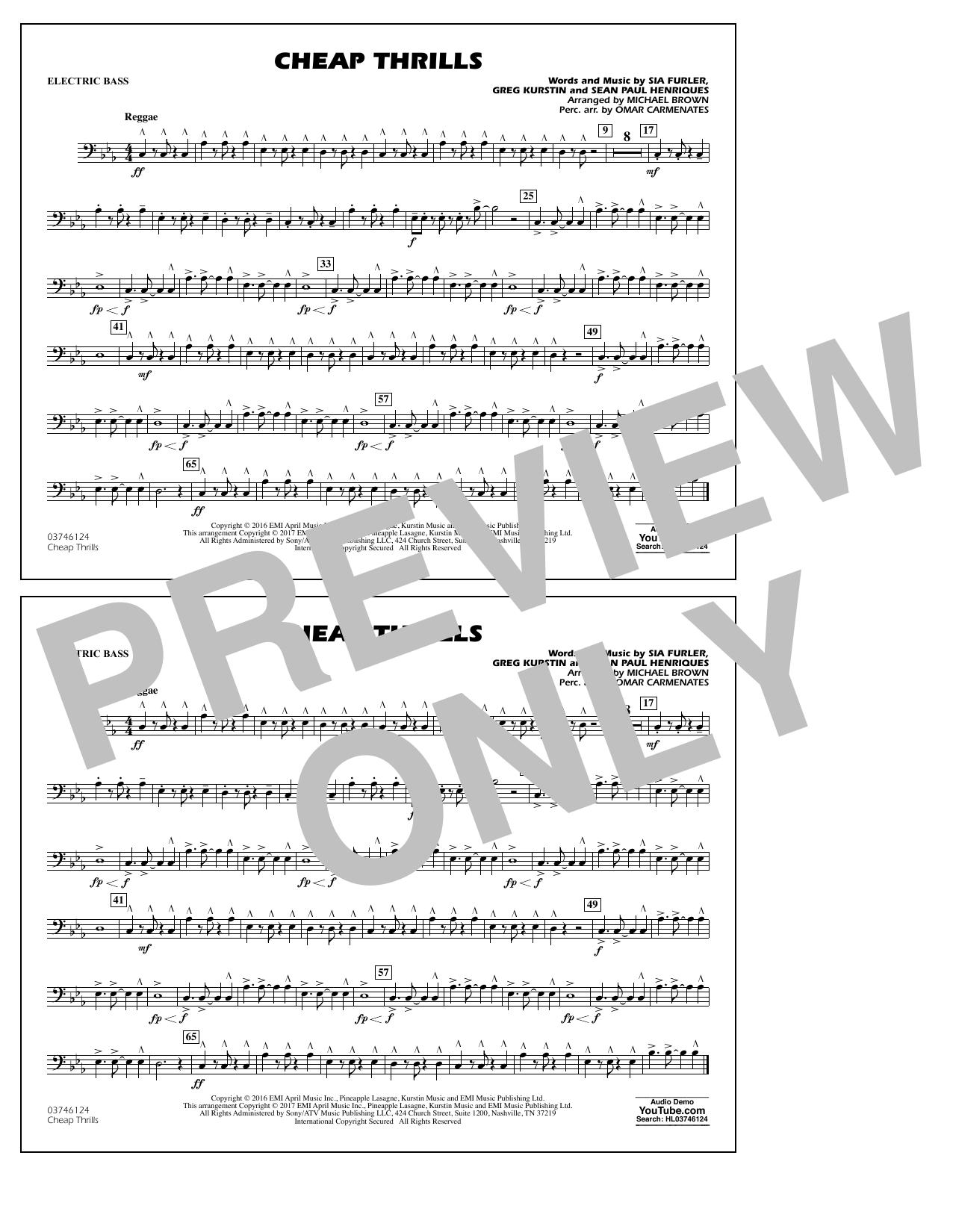 Cheap Thrills - Electric Bass Sheet Music