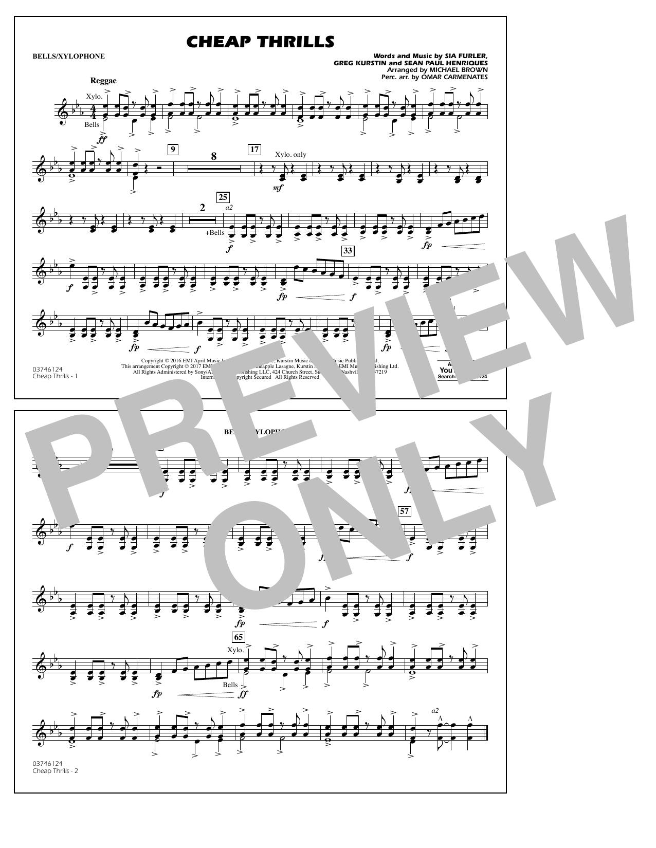 Cheap Thrills - Bells/Xylophone Sheet Music