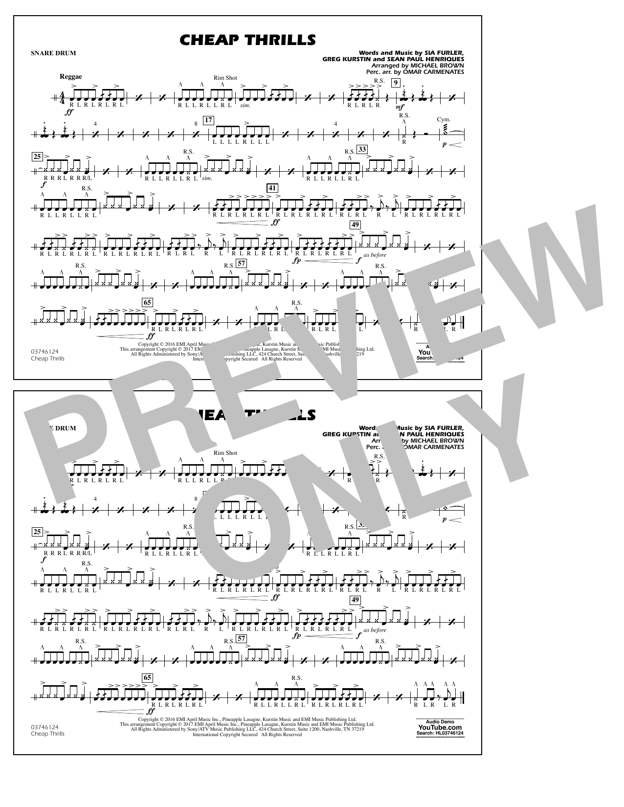 Cheap Thrills - Snare Drum Sheet Music