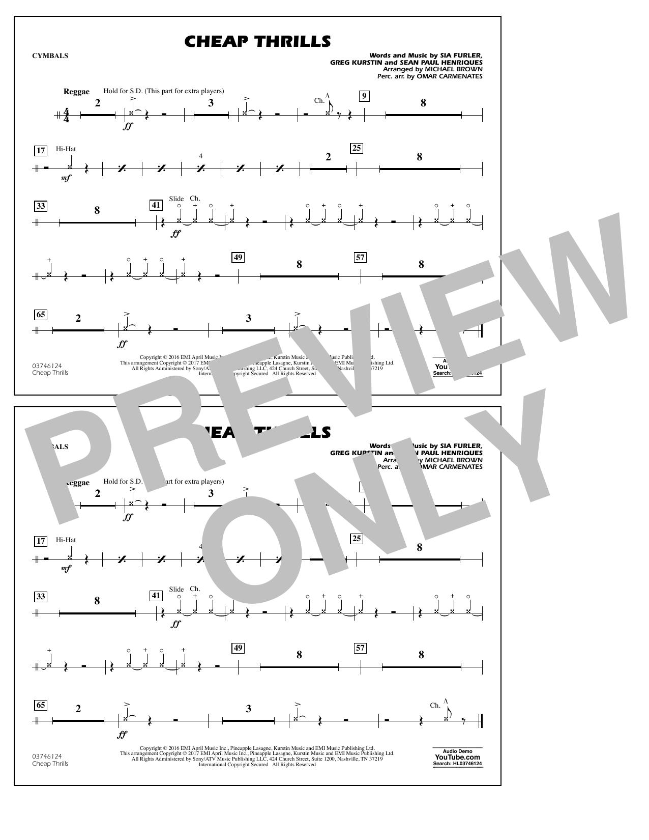 Cheap Thrills - Cymbals Sheet Music