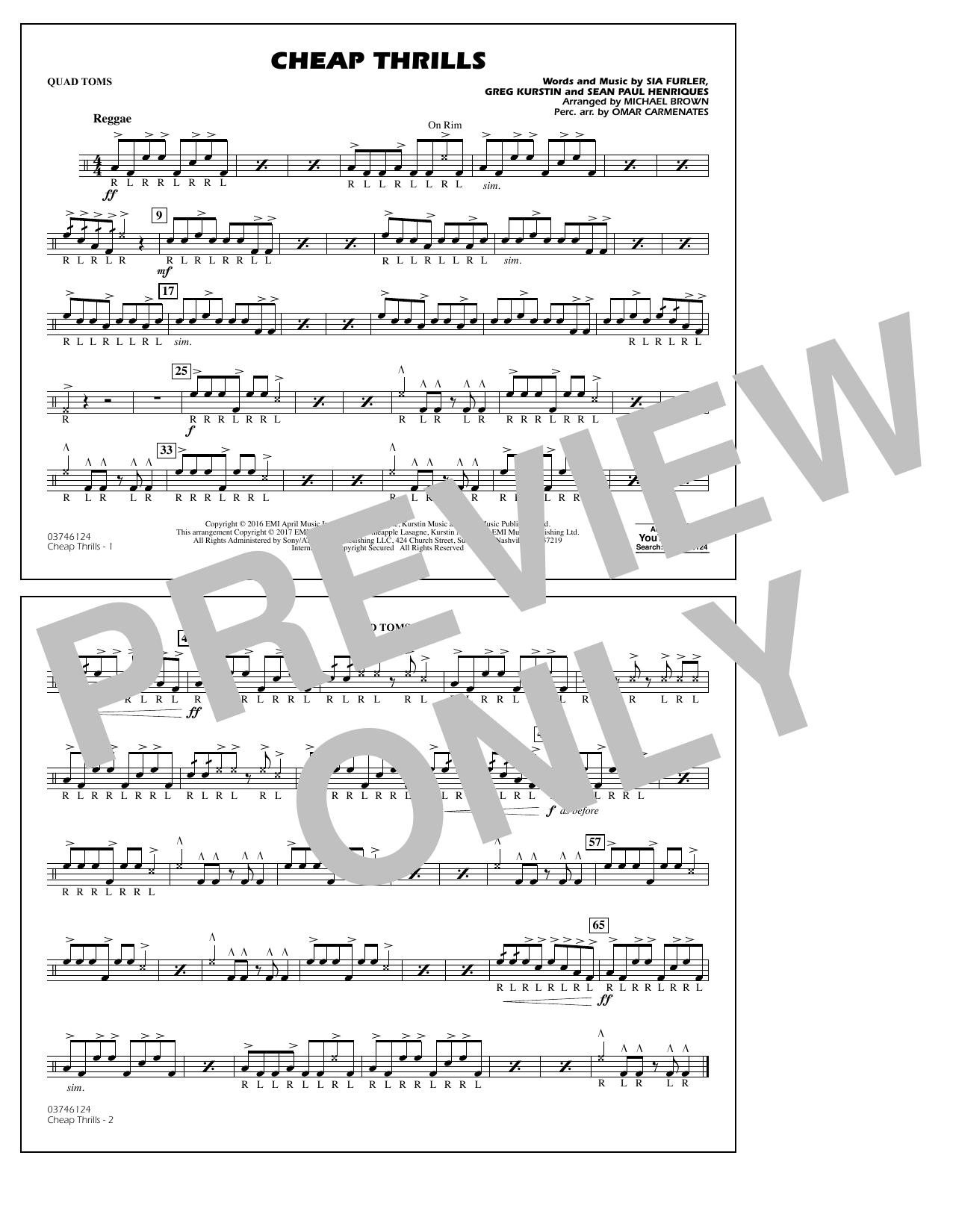 Cheap Thrills - Quad Toms Sheet Music