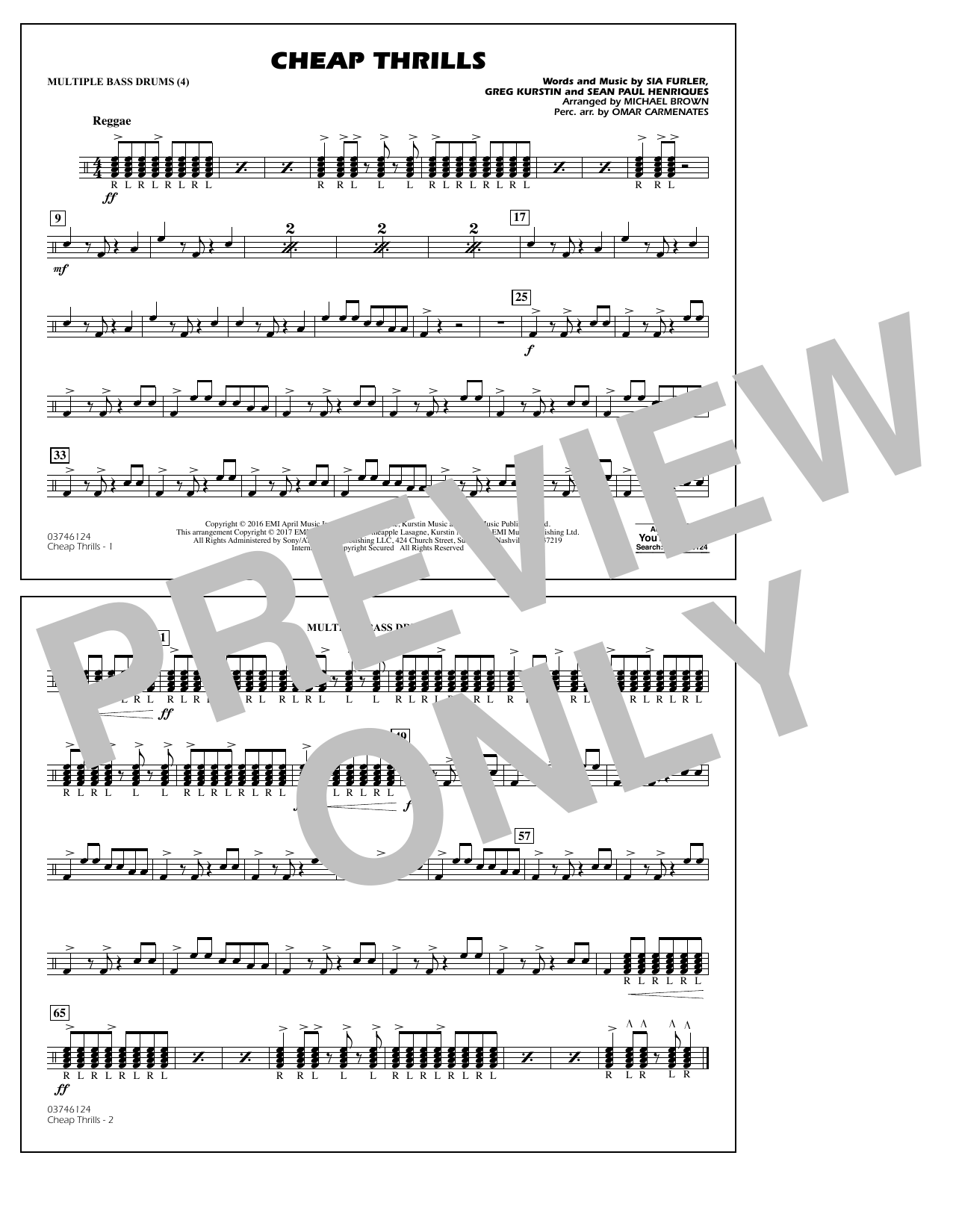 Cheap Thrills - Multiple Bass Drums Sheet Music