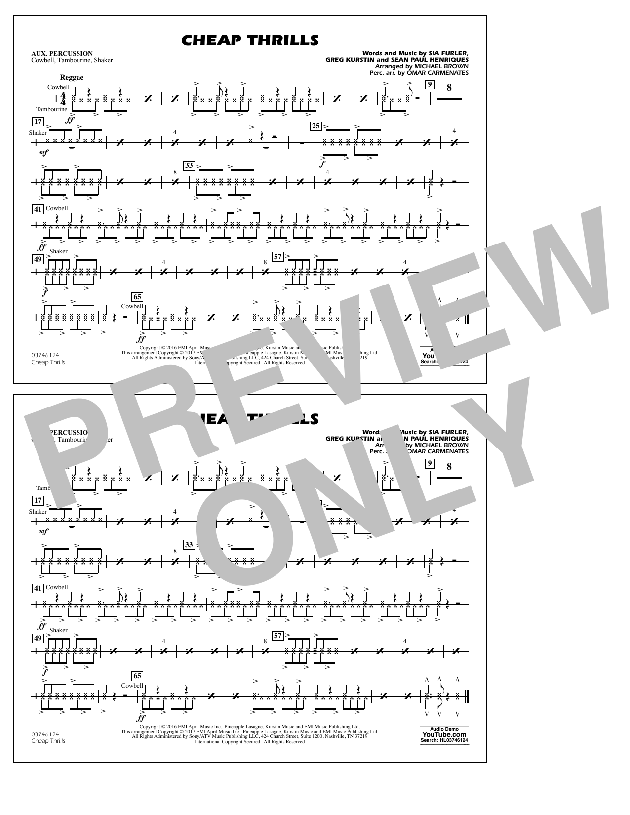Cheap Thrills - Aux Percussion Sheet Music