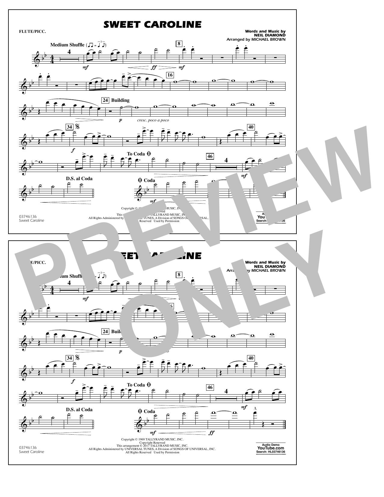 Sweet Caroline - Flute/Piccolo Sheet Music