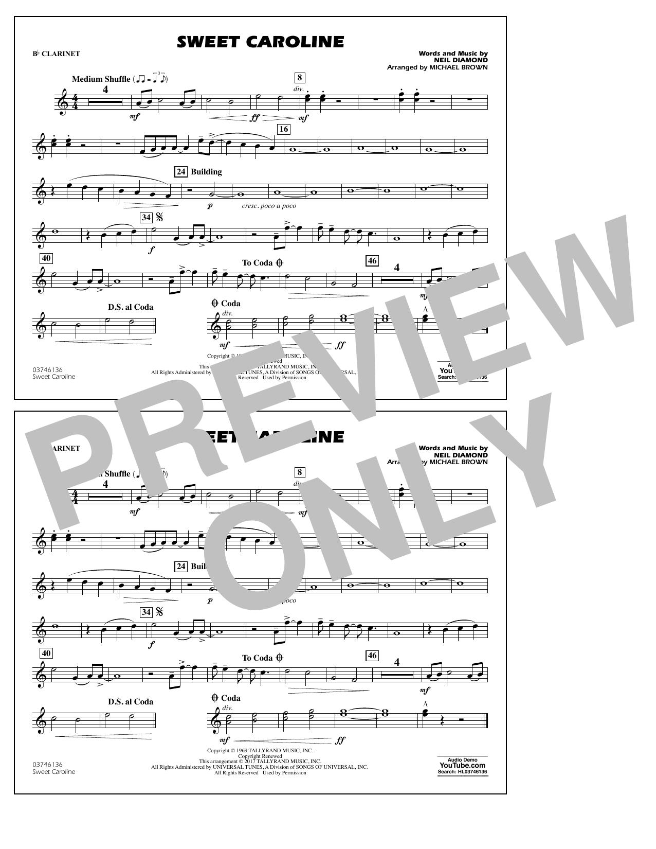 Sweet Caroline - Bb Clarinet Digitale Noten