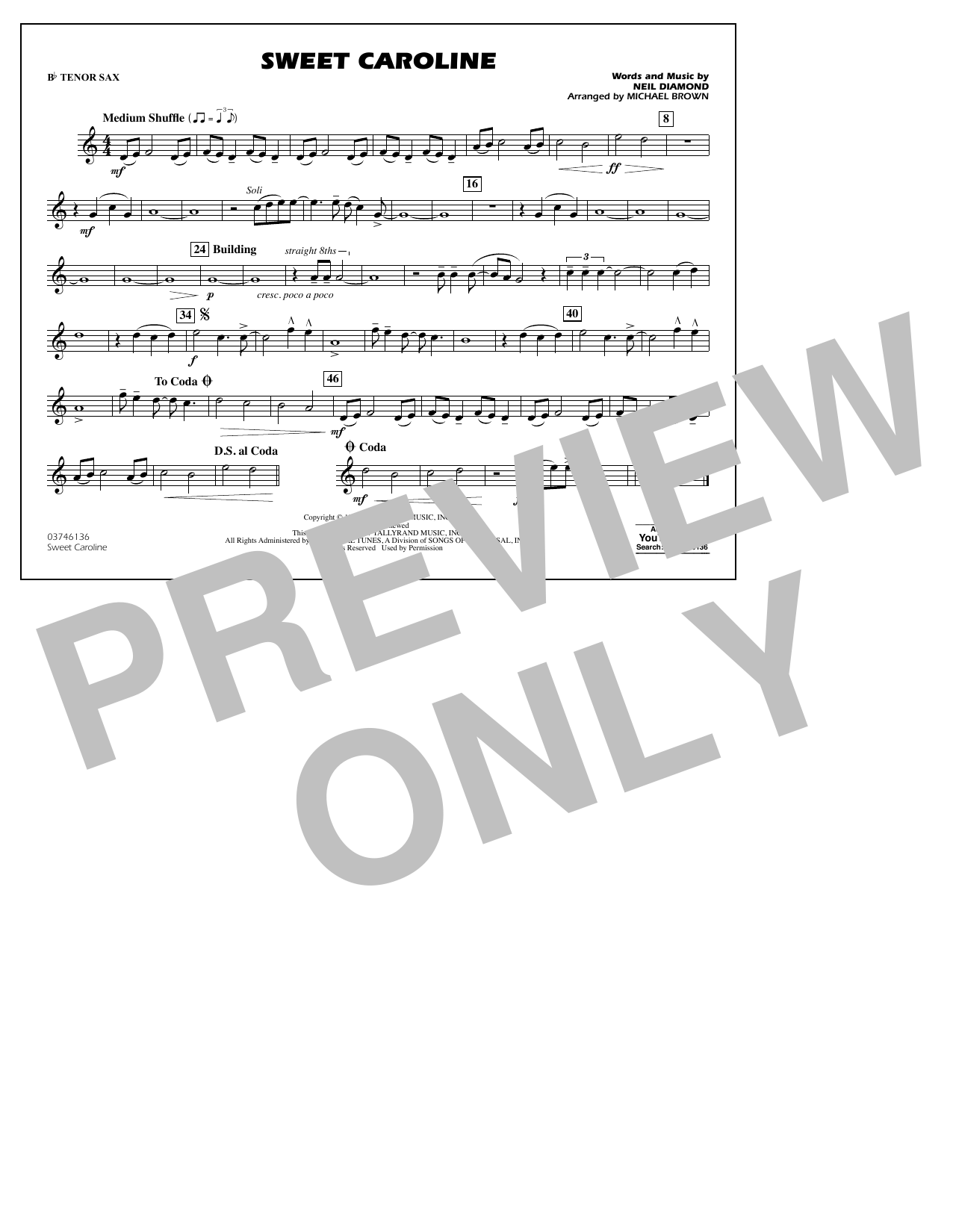 Sweet Caroline - Bb Tenor Sax Sheet Music