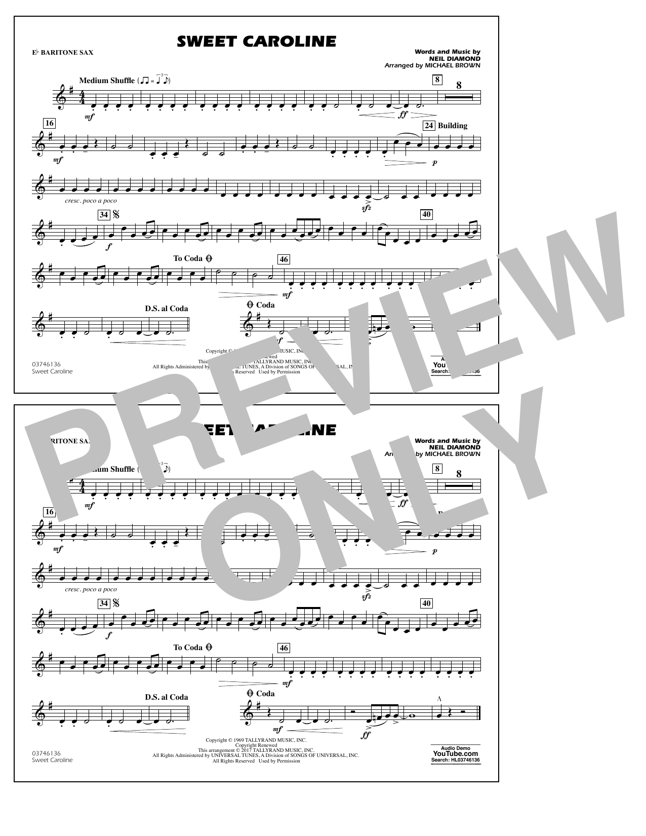 Sweet Caroline - Eb Baritone Sax (Marching Band)