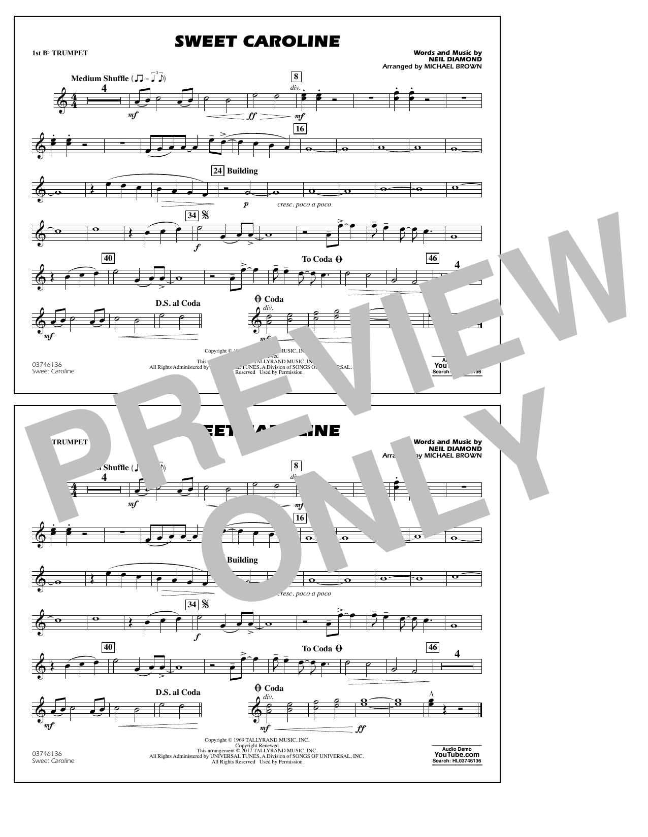 Sweet Caroline - 1st Bb Trumpet Partition Digitale