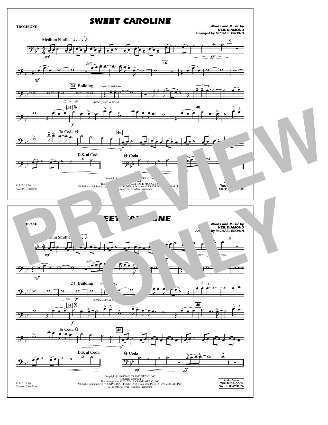 Sweet Caroline - Trombone Partition Digitale