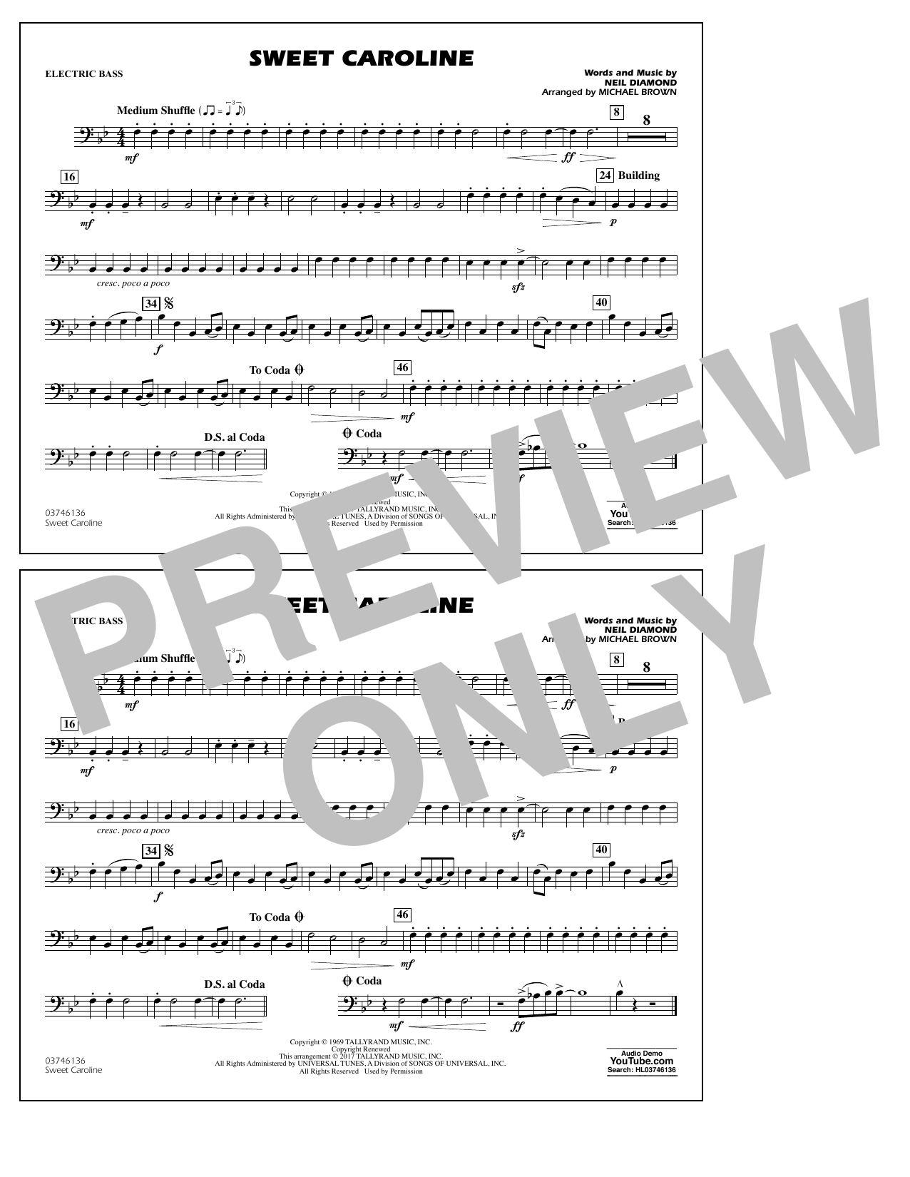 Sweet Caroline - Electric Bass Sheet Music