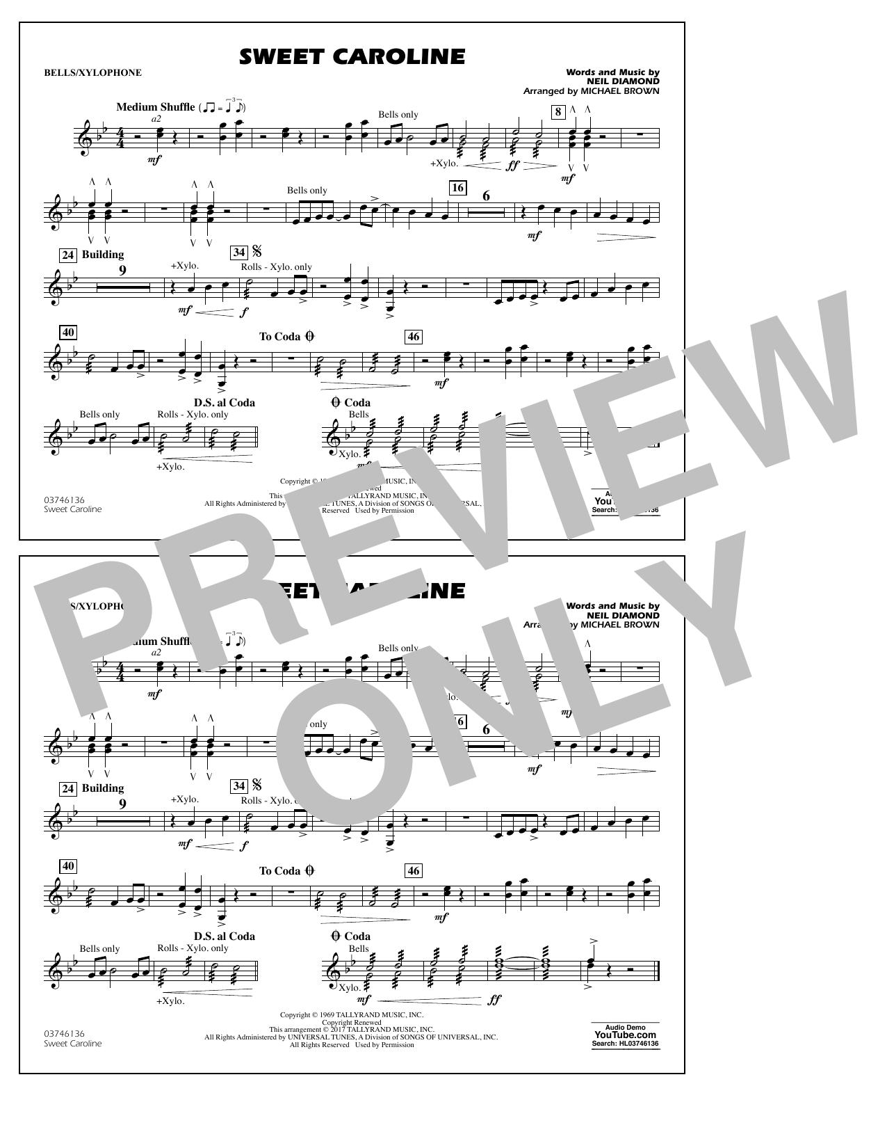 Sweet Caroline - Bells/Xylophone Sheet Music