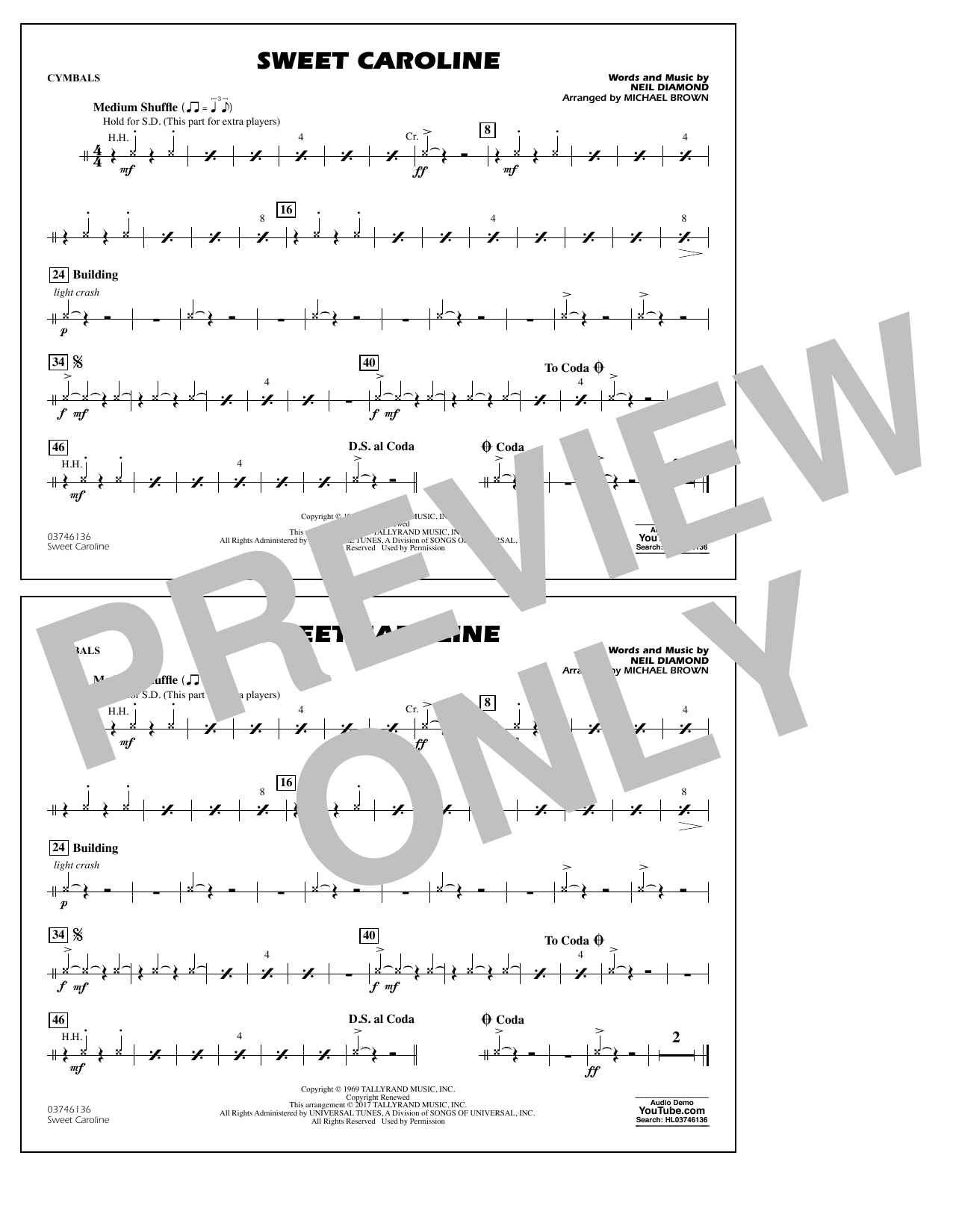 Sweet Caroline - Cymbals Sheet Music