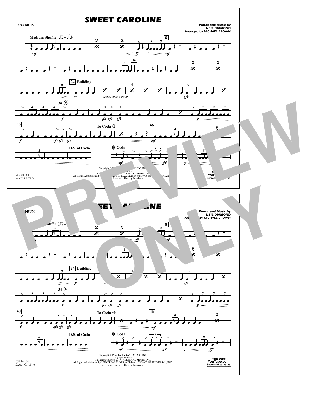 Sweet Caroline - Bass Drum Sheet Music