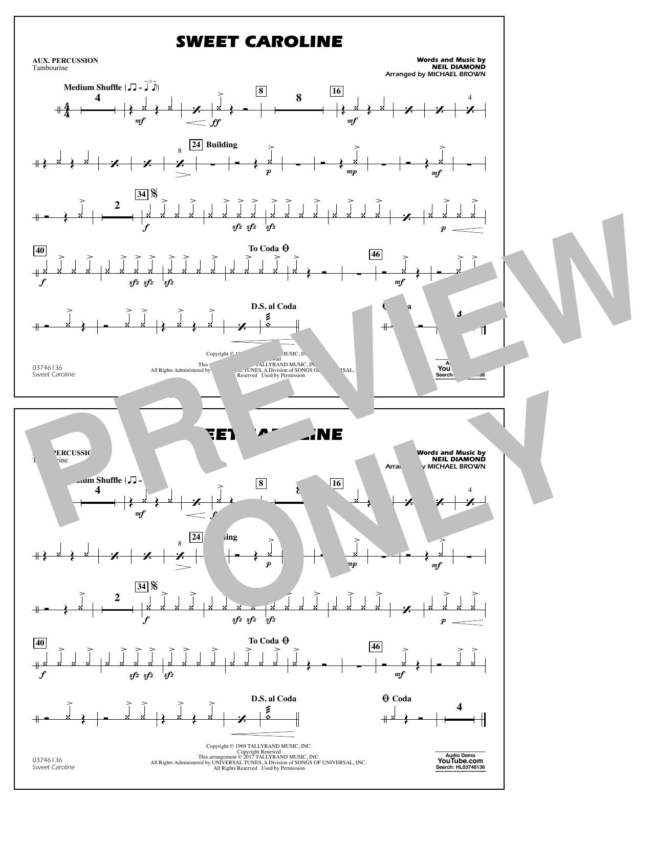 Sweet Caroline - Aux Percussion Sheet Music