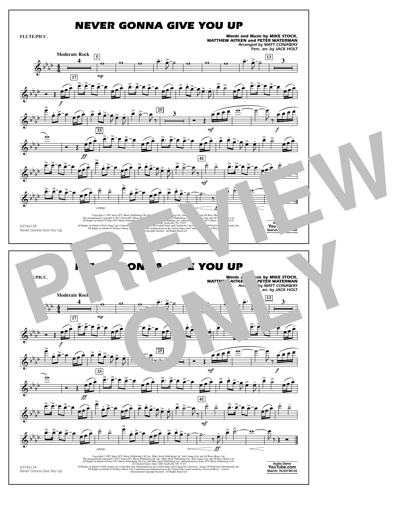 Never Gonna Give You Up - Flute/Piccolo Sheet Music