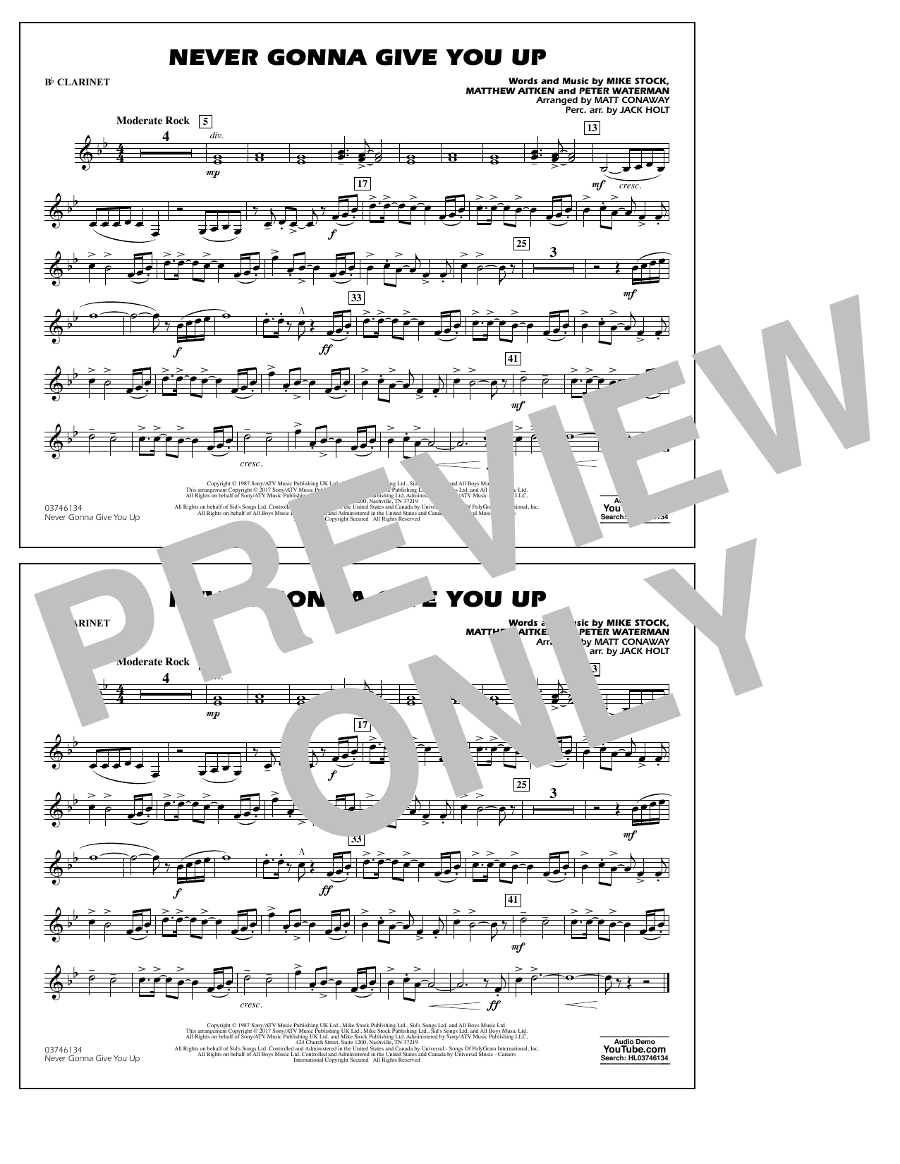 Never Gonna Give You Up - Bb Clarinet Sheet Music