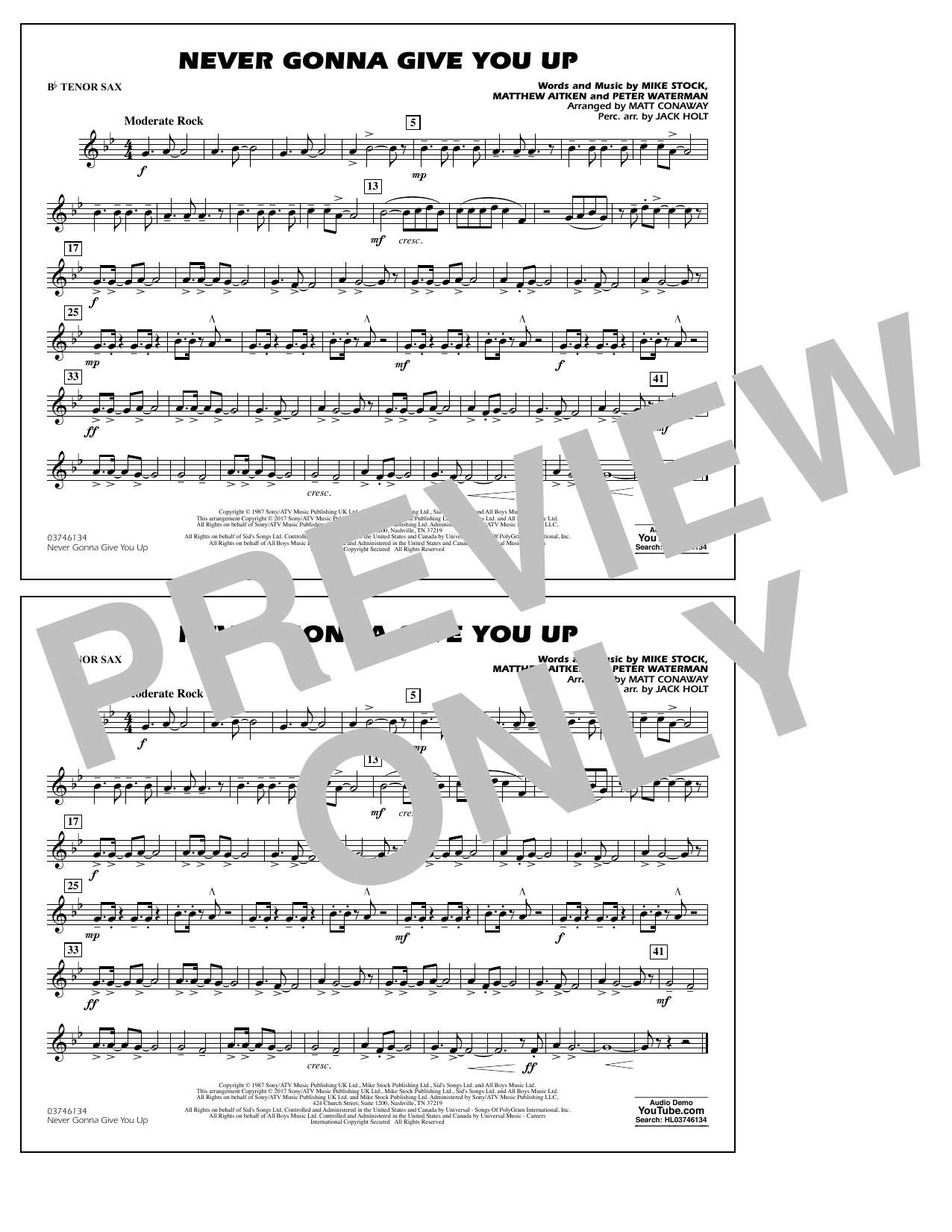 Never Gonna Give You Up - Bb Tenor Sax Sheet Music