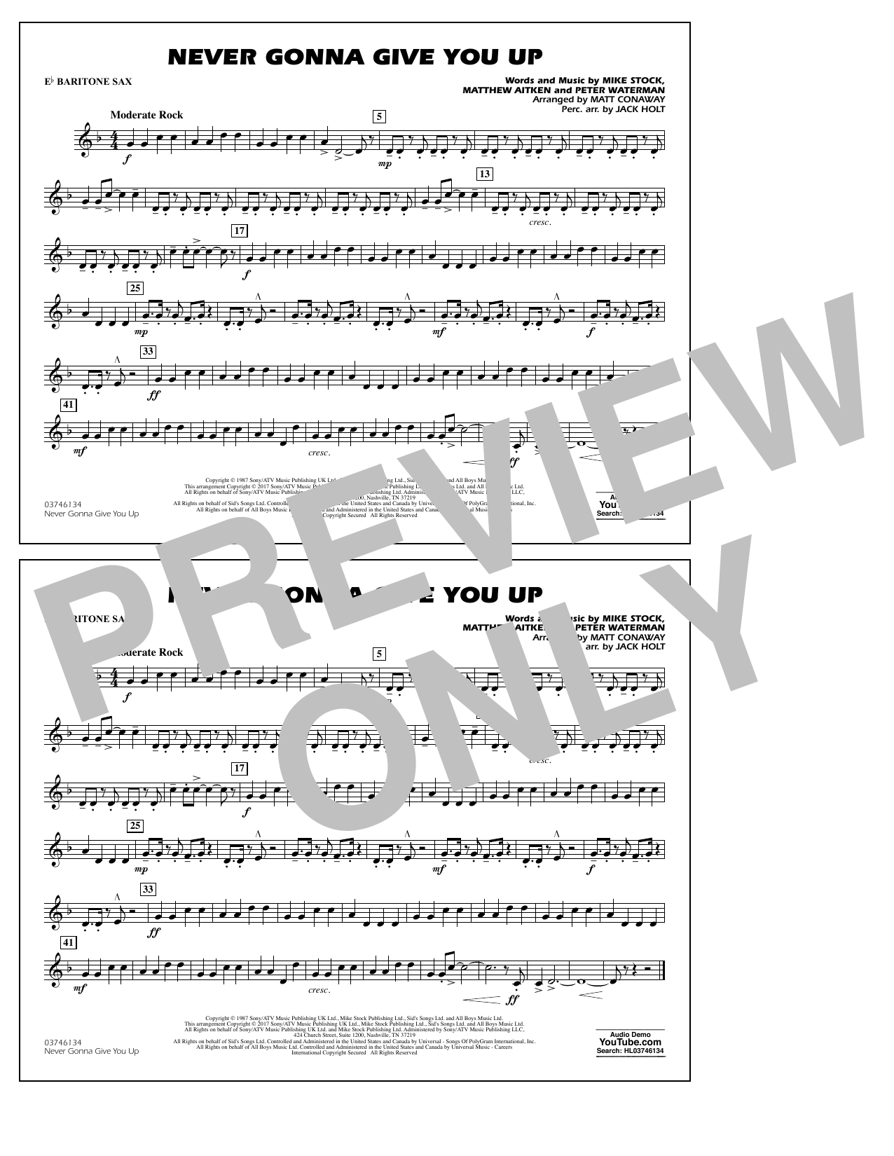 Never Gonna Give You Up - Eb Baritone Sax Sheet Music