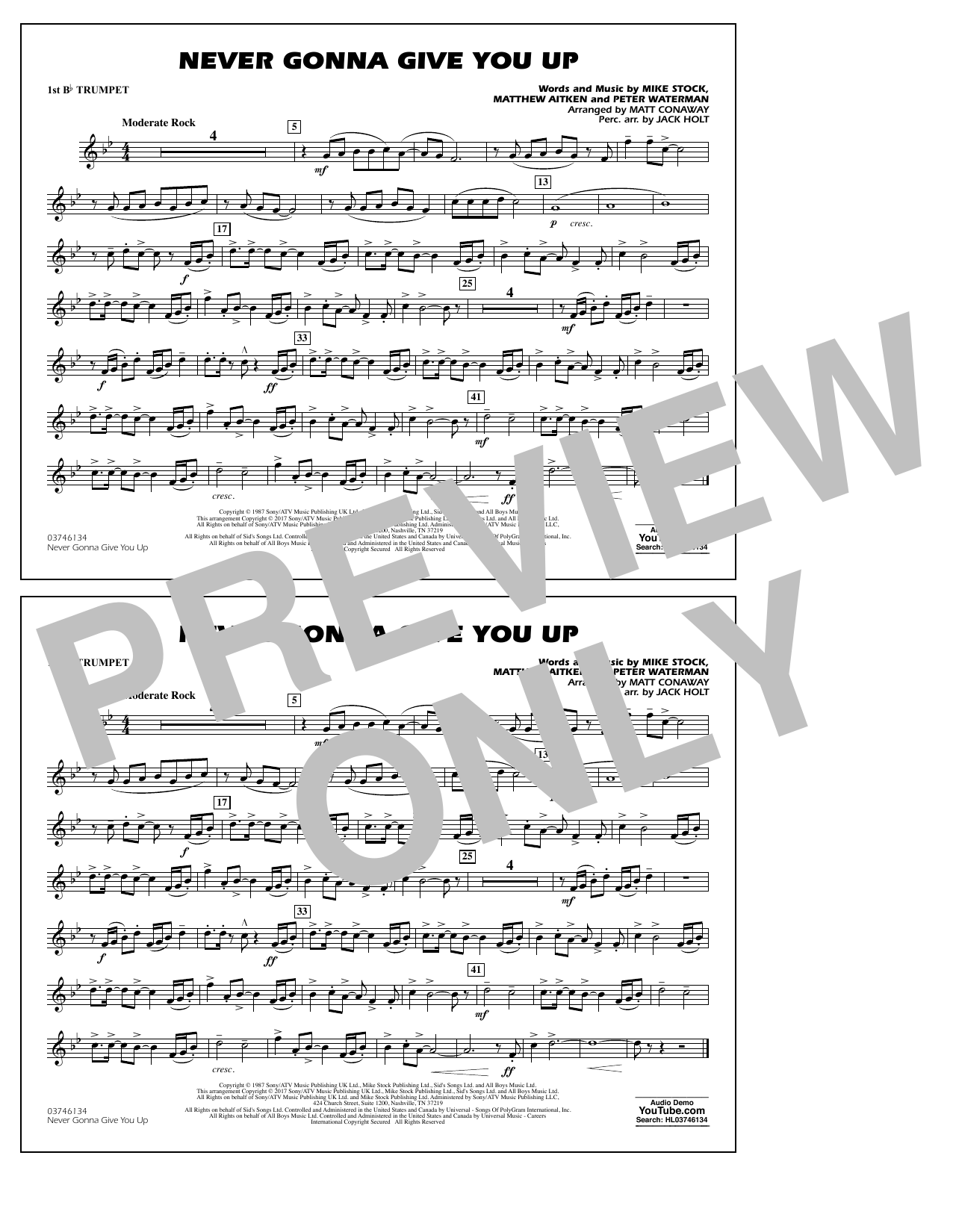 Never Gonna Give You Up - 1st Bb Trumpet Sheet Music