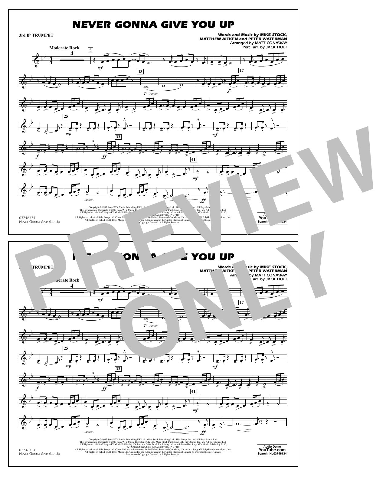 Never Gonna Give You Up - 3rd Bb Trumpet Sheet Music
