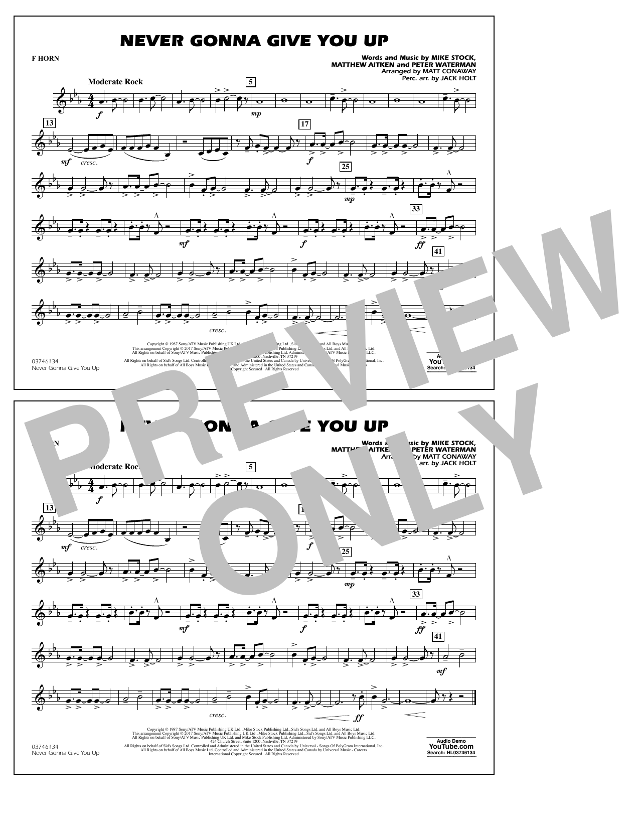 Never Gonna Give You Up - F Horn Sheet Music