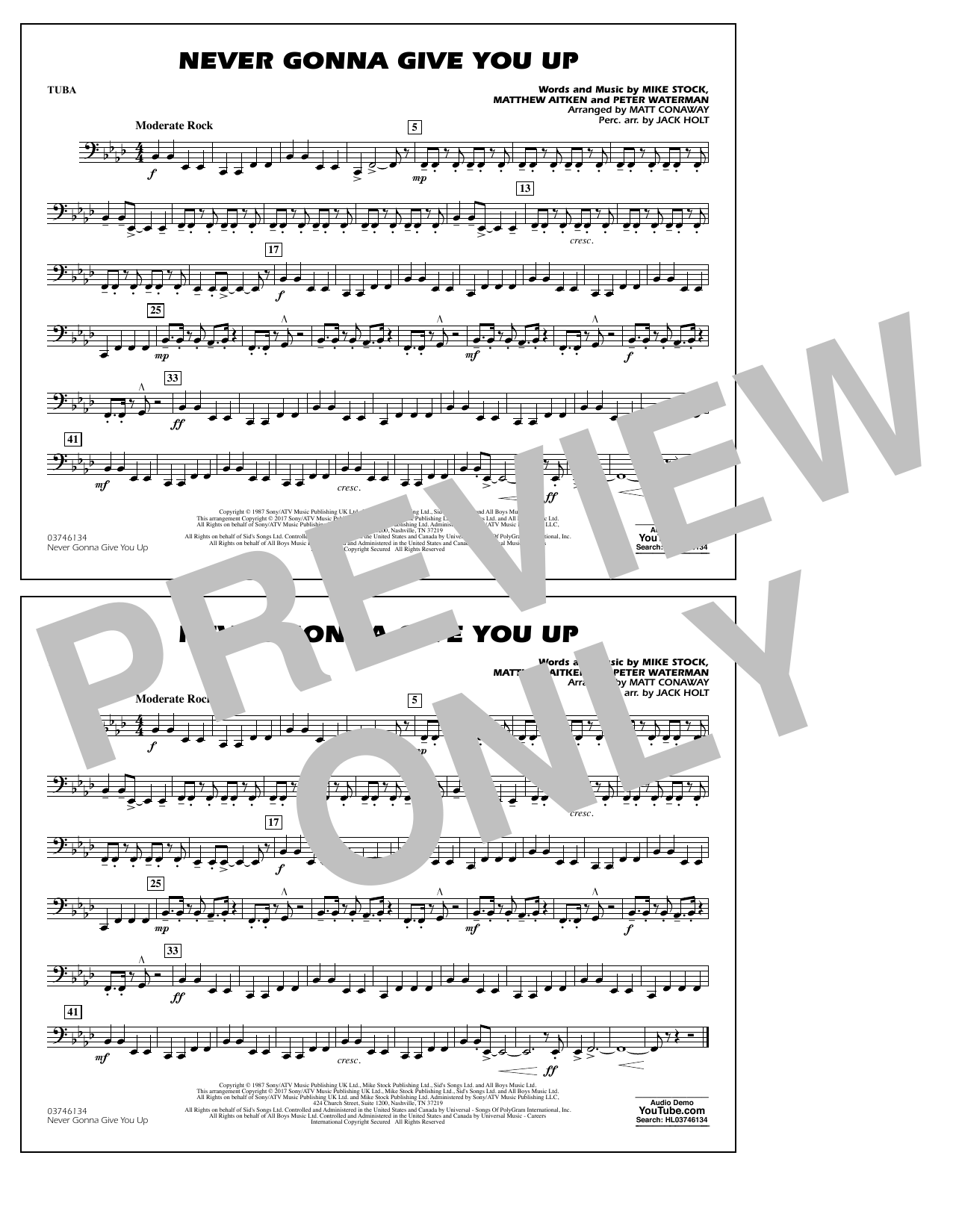 Never Gonna Give You Up - Tuba Sheet Music