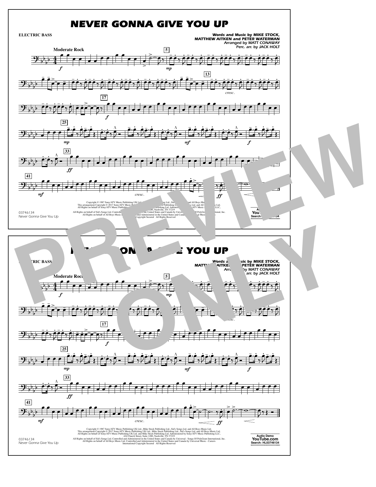 Never Gonna Give You Up - Electric Bass Sheet Music