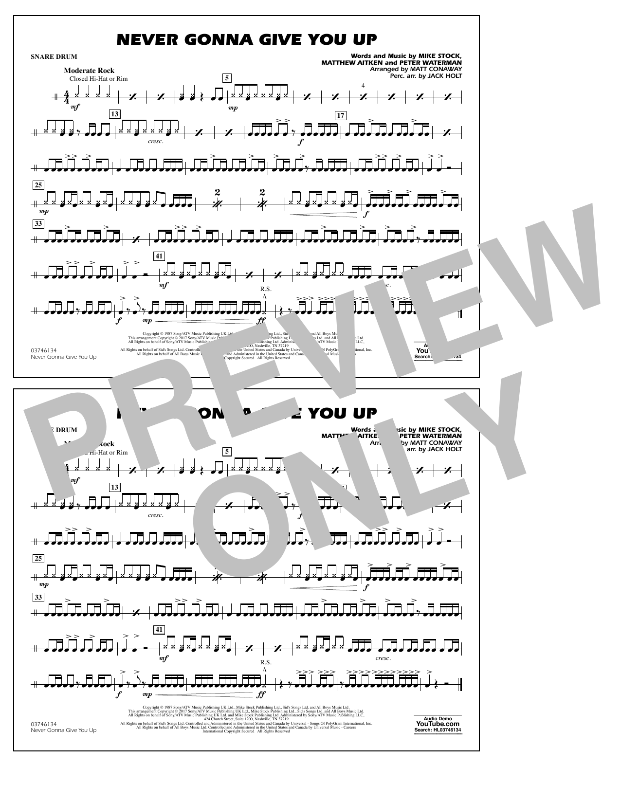 Never Gonna Give You Up - Snare Drum Partition Digitale