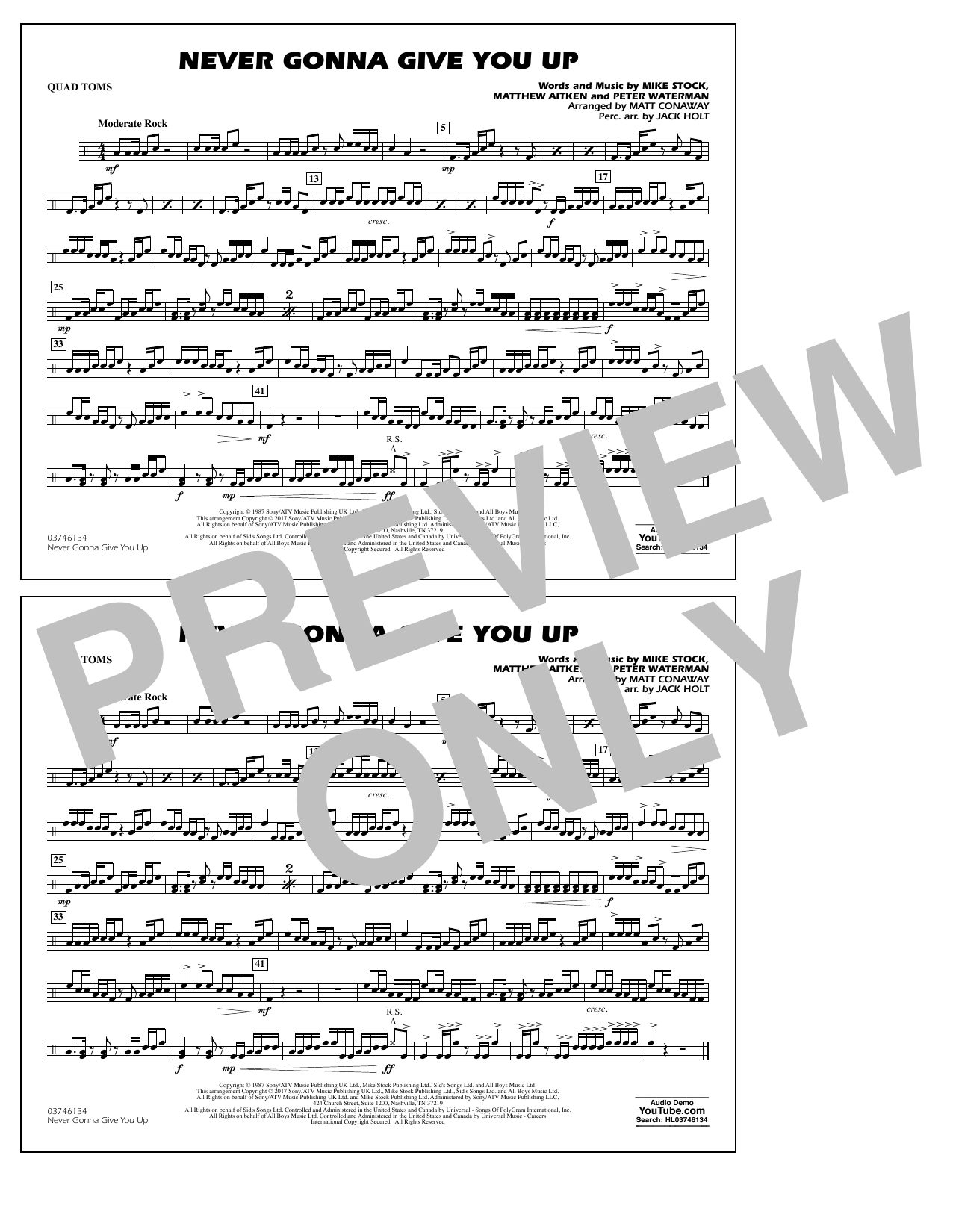 Never Gonna Give You Up - Quad Toms Sheet Music