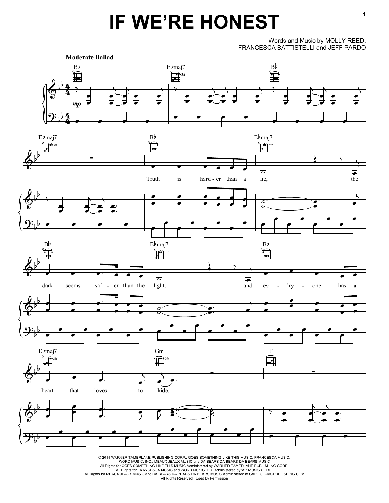 If We're Honest (Piano, Vocal & Guitar (Right-Hand Melody))