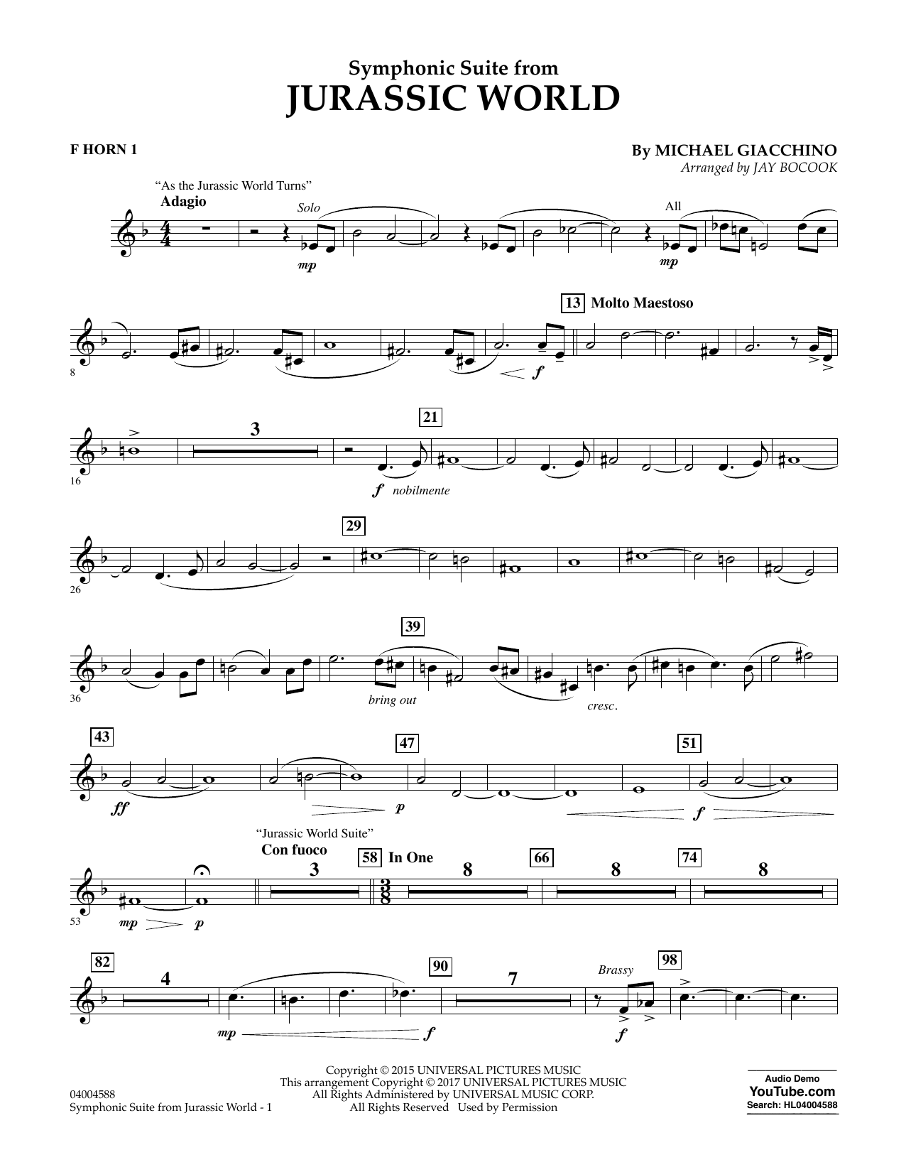 Jurassic World (Symphonic Suite) - F Horn 1 Sheet Music