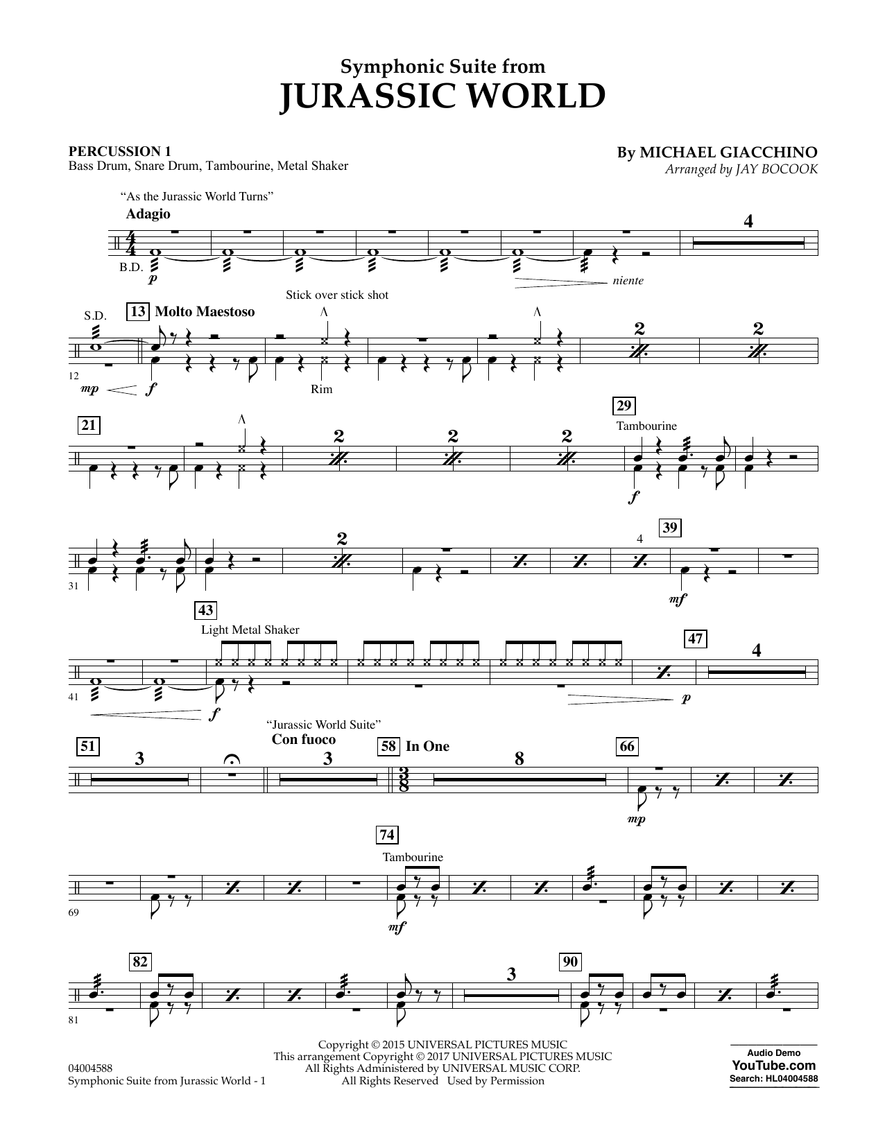 Jurassic World (Symphonic Suite) - Percussion 1 Sheet Music