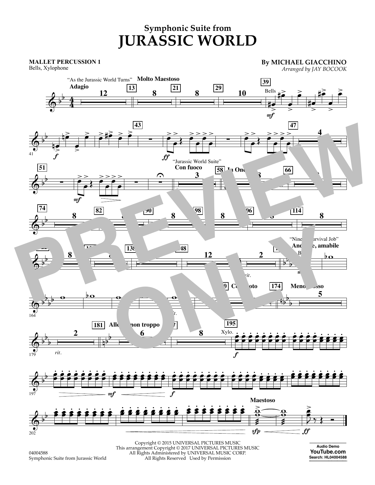 Jurassic World (Symphonic Suite) - Mallet Percussion 1 Sheet Music