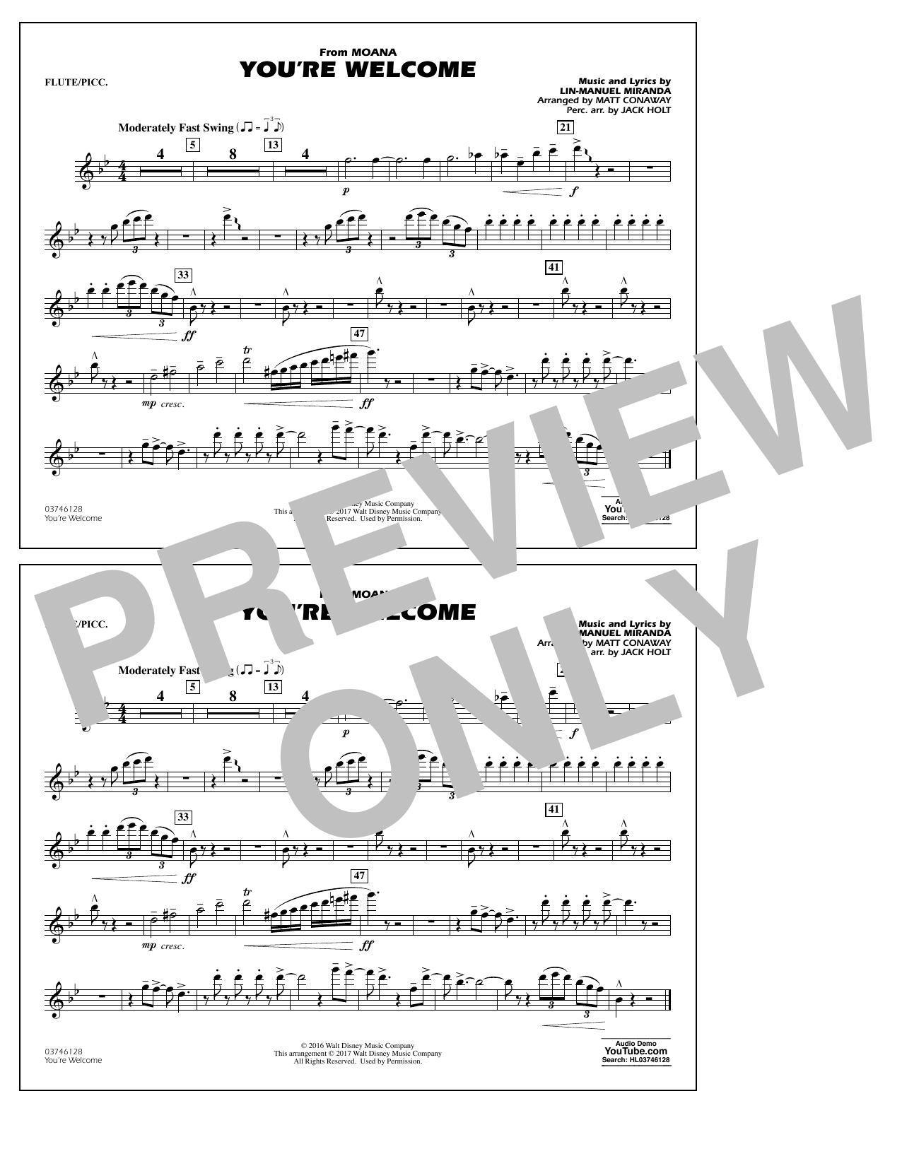 You're Welcome (from Moana) - Flute/Piccolo Sheet Music
