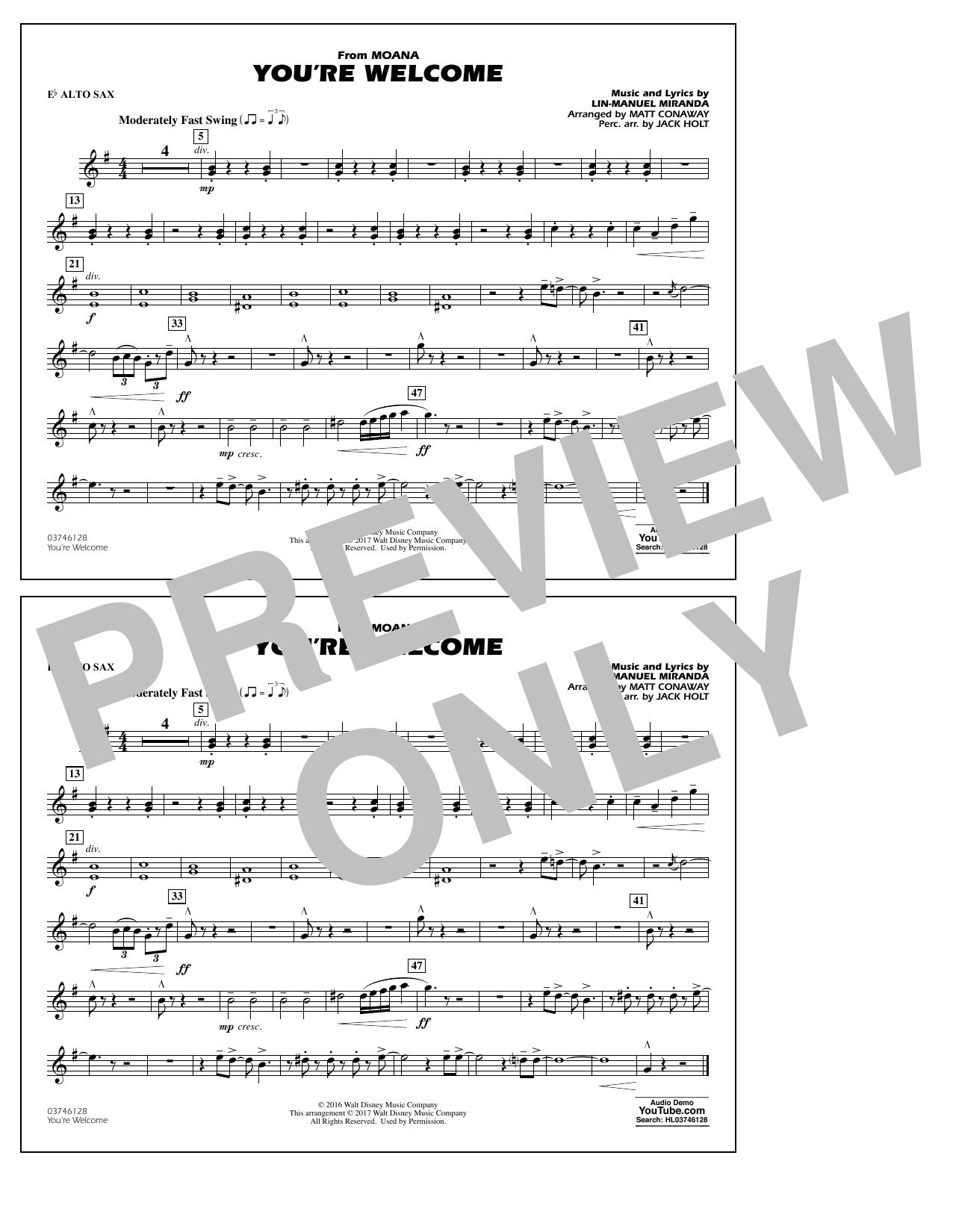 You're Welcome (from Moana) - Eb Alto Sax Sheet Music