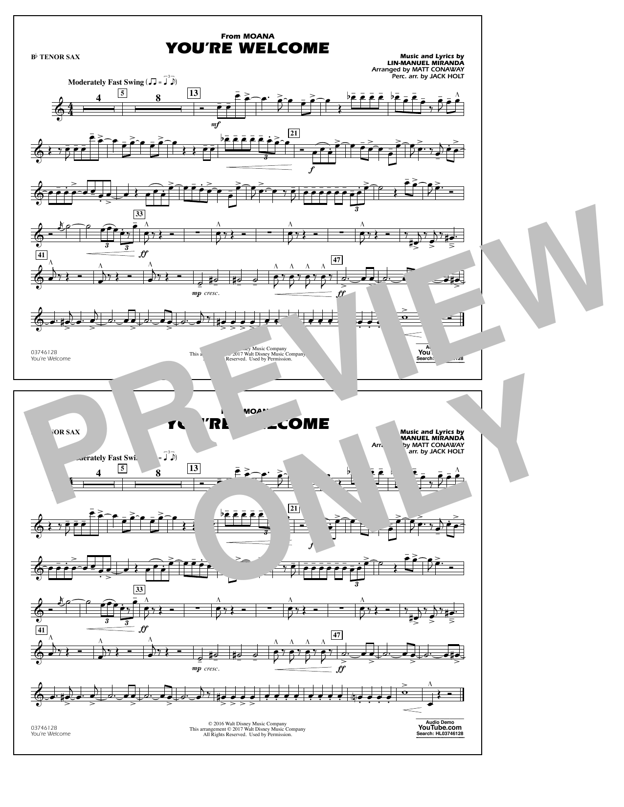 You're Welcome (from Moana) - Bb Tenor Sax Sheet Music