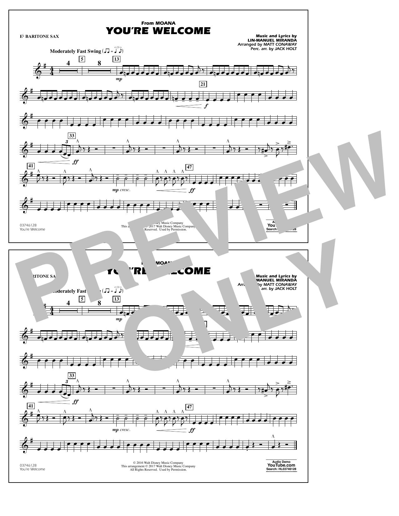 You're Welcome (from Moana) - Eb Baritone Sax Sheet Music
