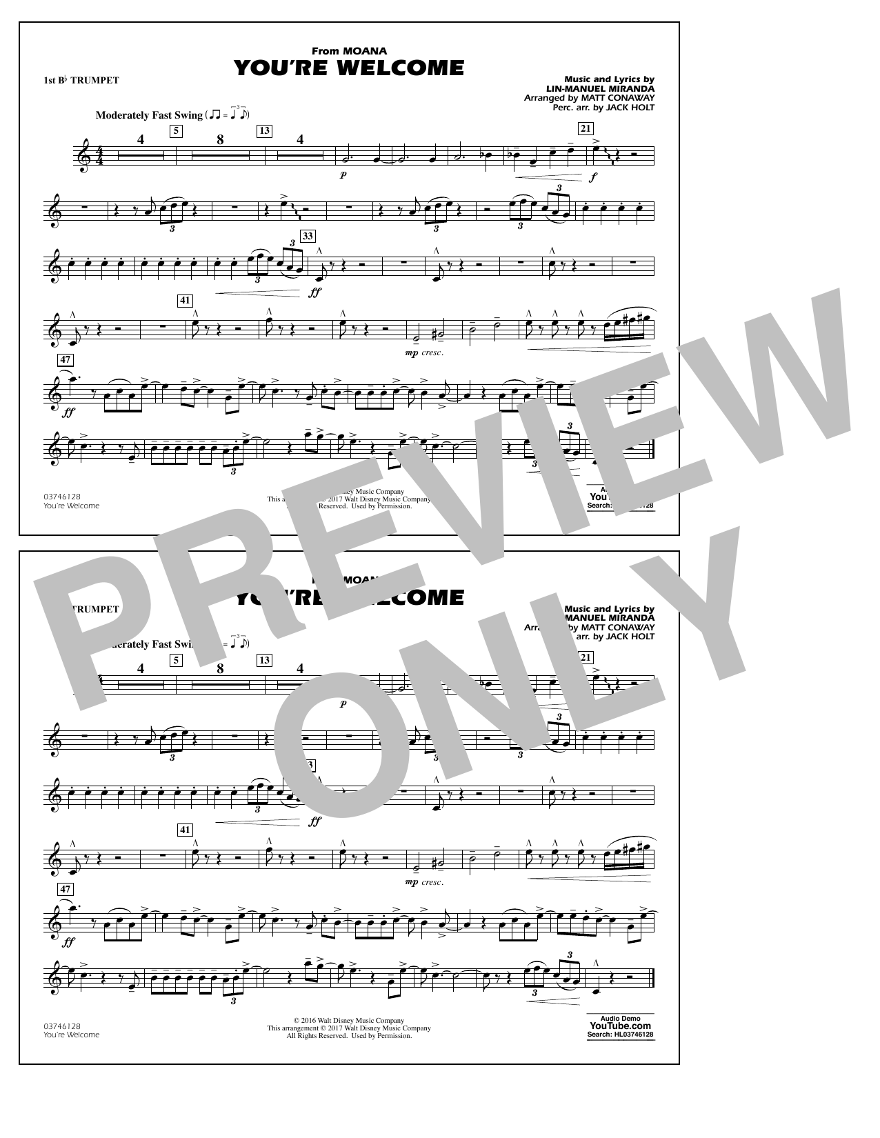 You're Welcome (from Moana) - 1st Bb Trumpet Sheet Music
