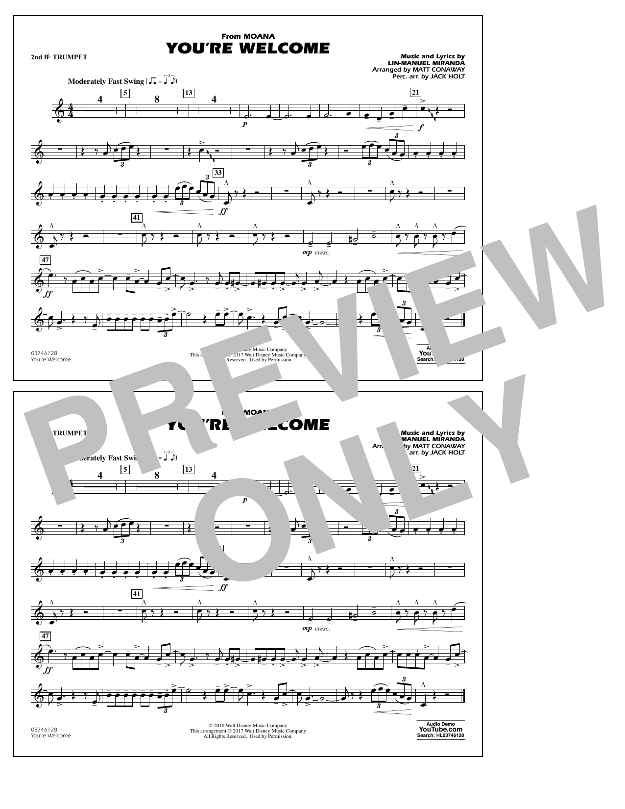 You're Welcome (from Moana) - 2nd Bb Trumpet Sheet Music