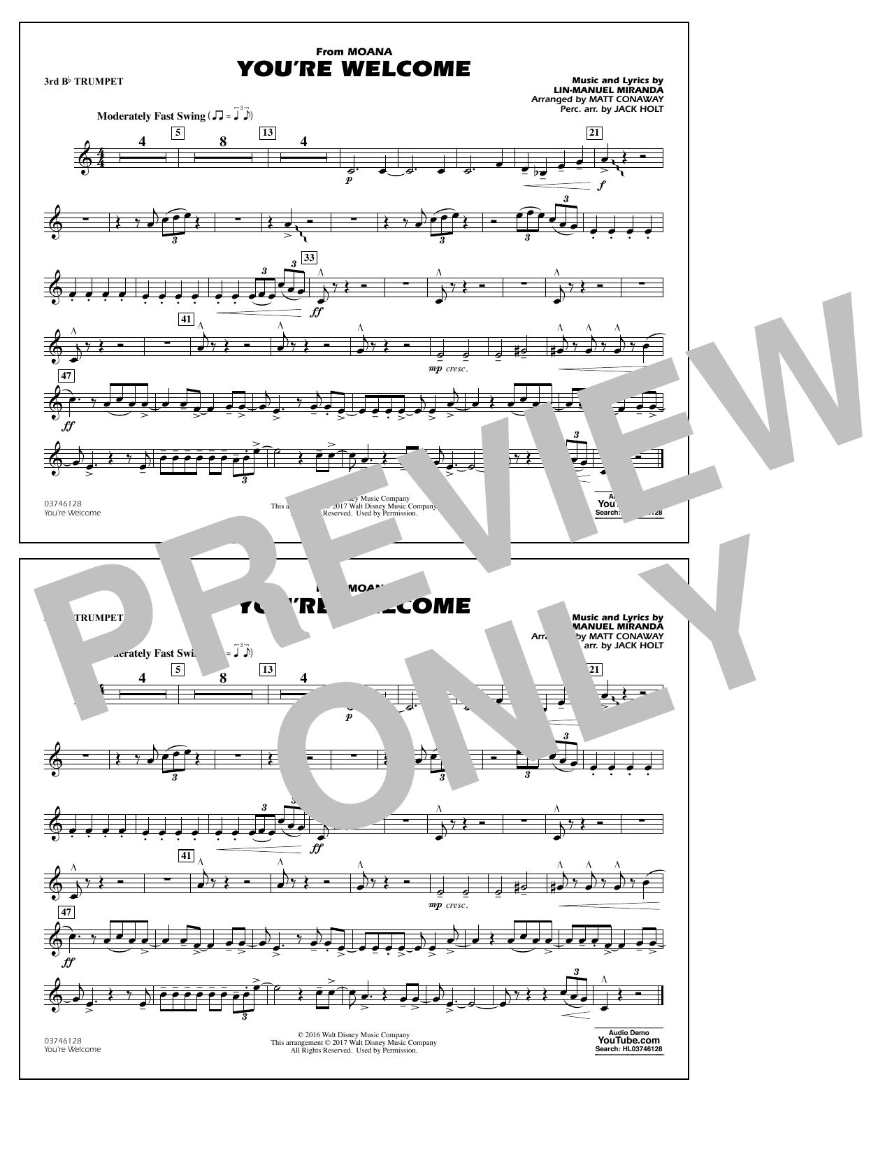 You're Welcome (from Moana) - 3rd Bb Trumpet Sheet Music