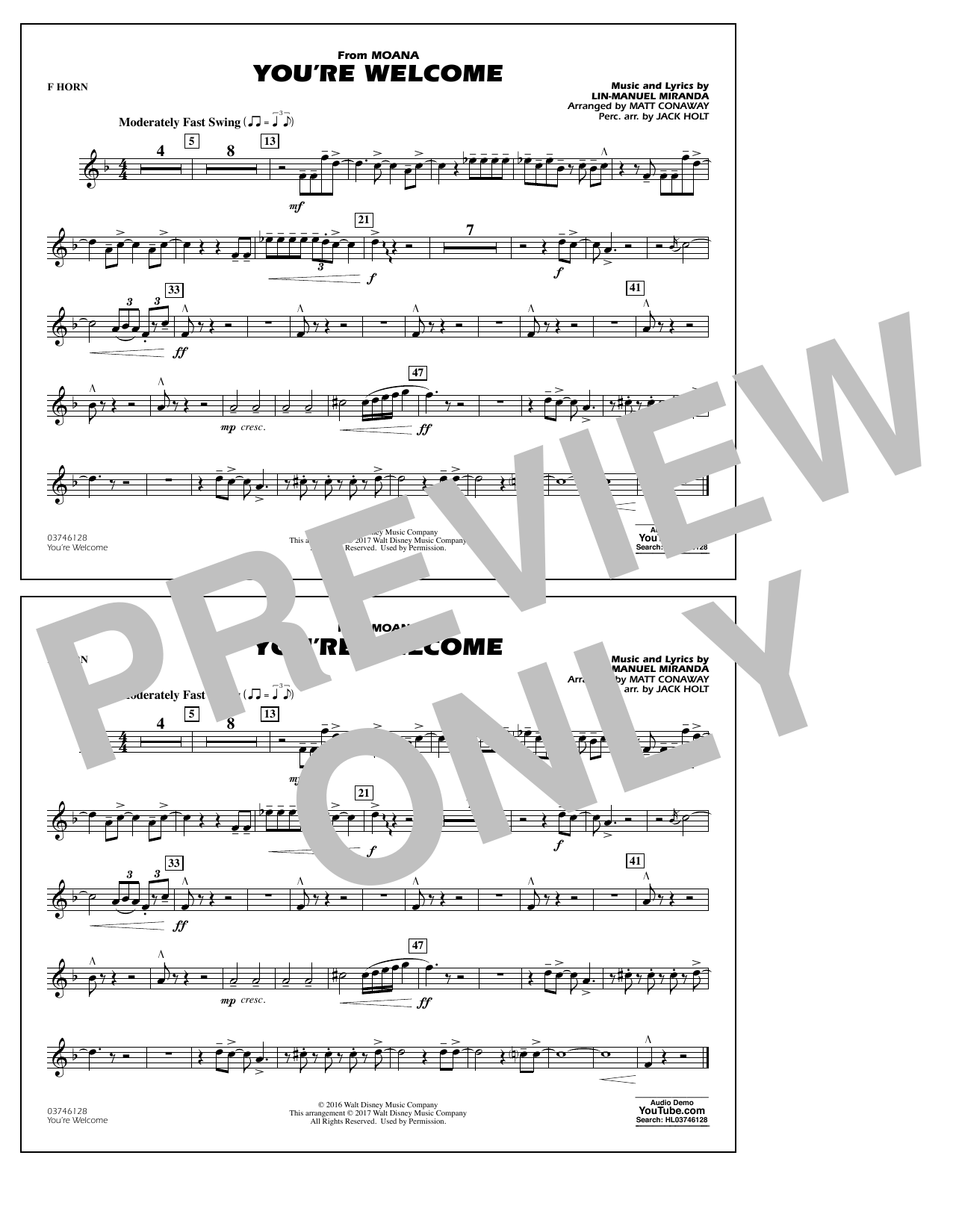 You're Welcome (from Moana) - F Horn Sheet Music