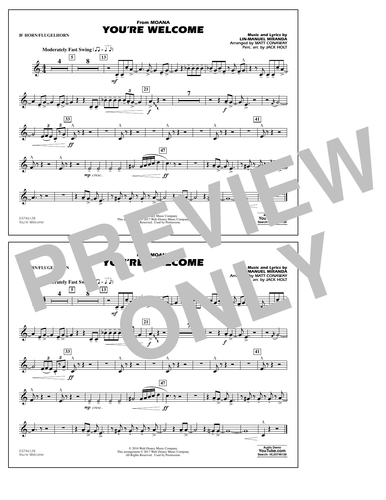 You're Welcome (from Moana) - Bb Horn/Flugelhorn Sheet Music