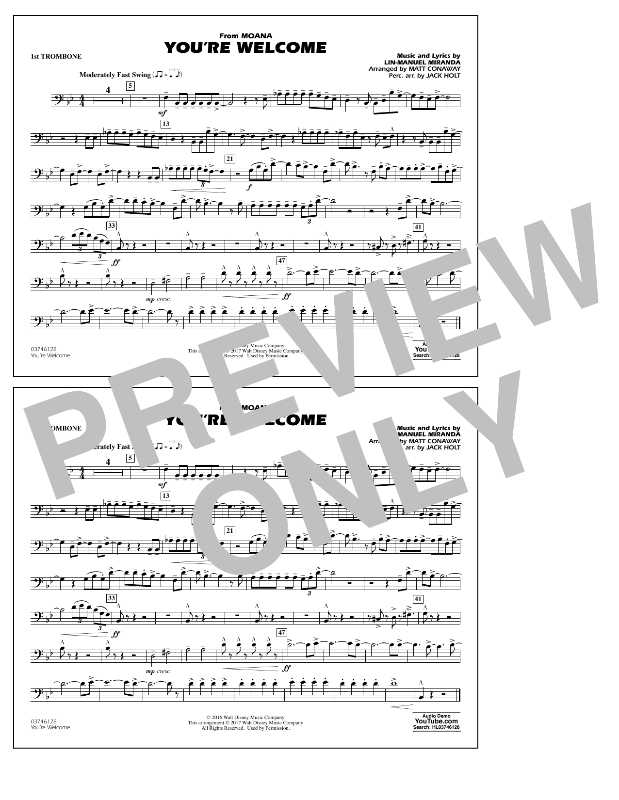 graphic regarding Free Printable Trombone Sheet Music referred to as Youre Welcome (towards Moana) - 1st Trombone atStantons Sheet