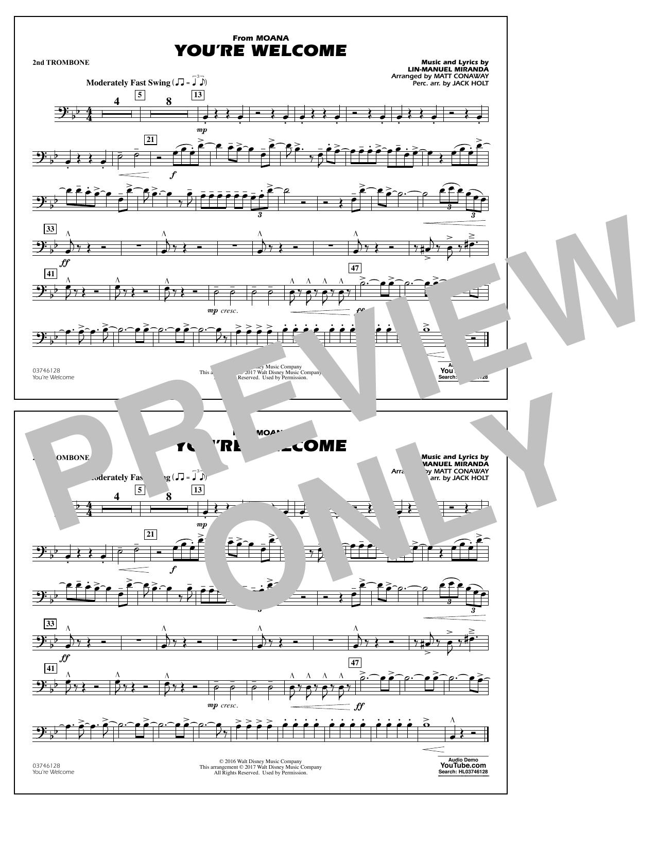You're Welcome (from Moana) - 2nd Trombone Sheet Music
