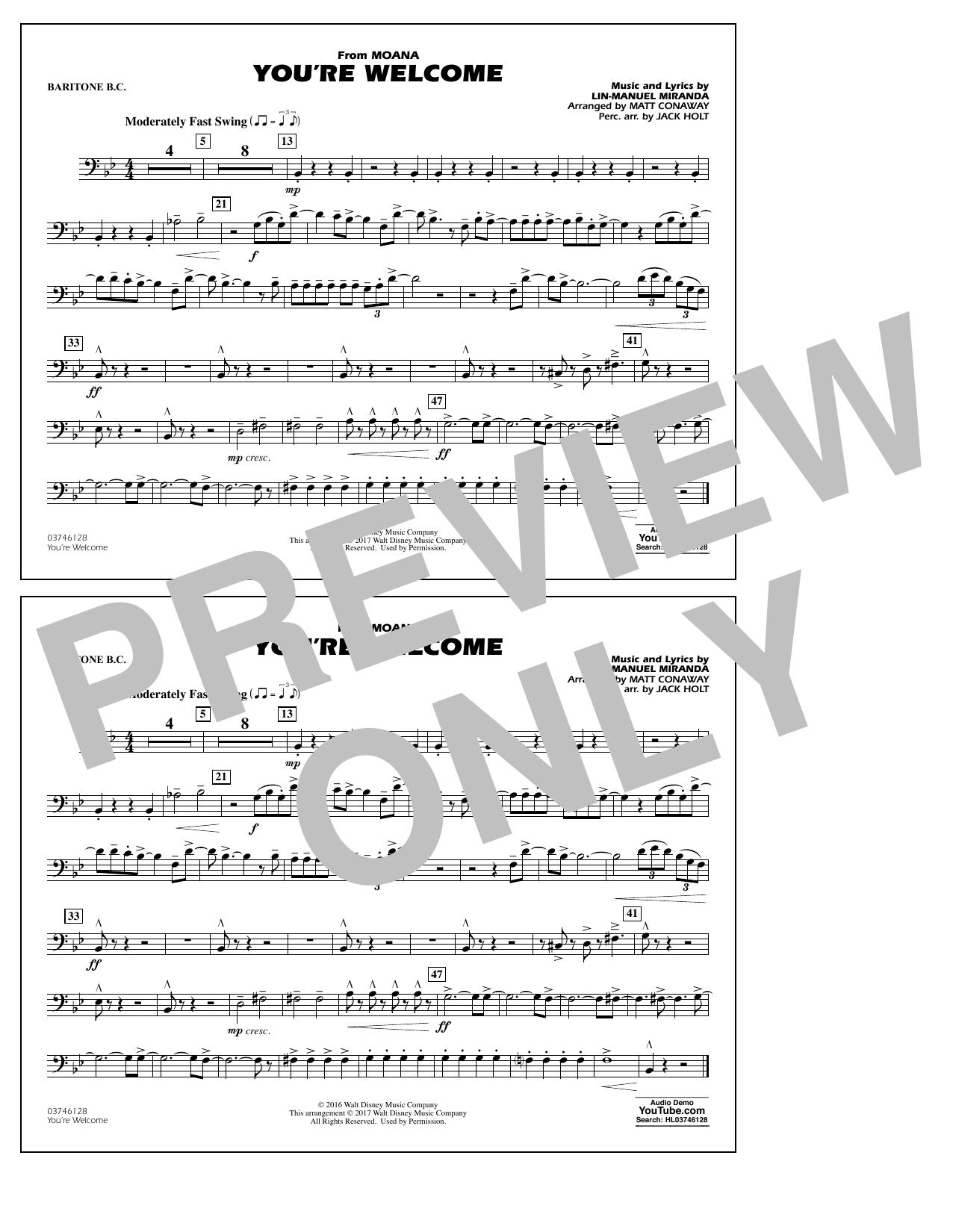 You're Welcome (from Moana) - Baritone B.C. Sheet Music