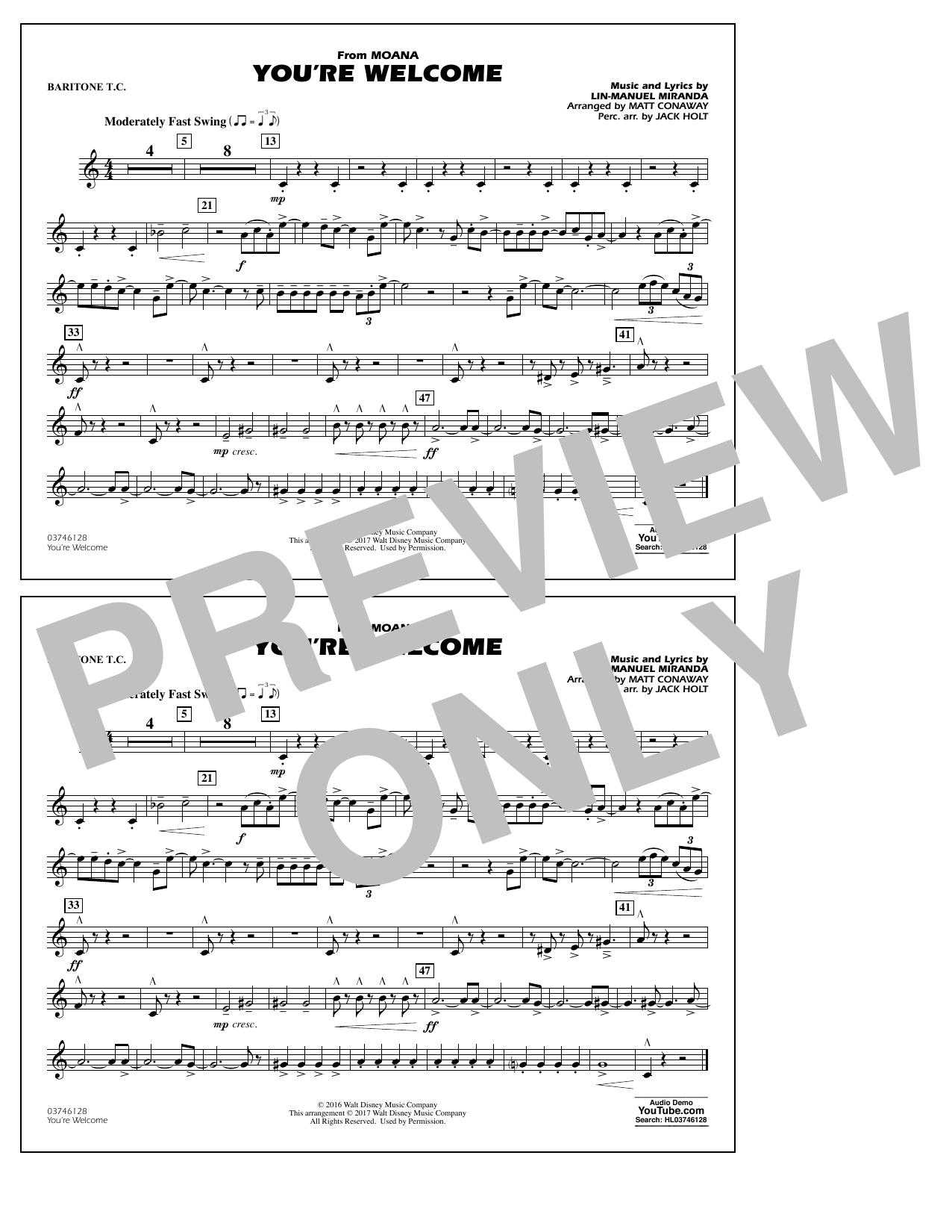 You're Welcome (from Moana) - Baritone T.C. Sheet Music