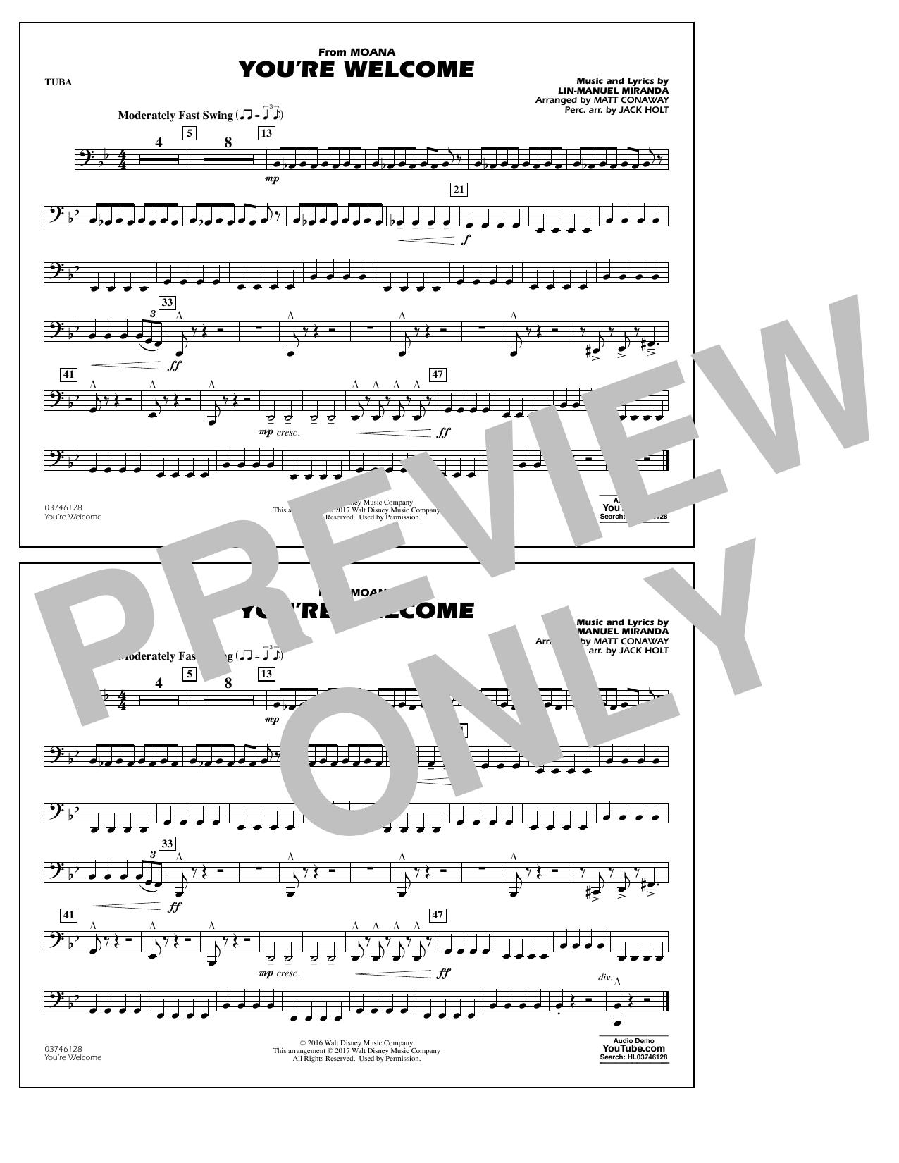 You're Welcome (from Moana) - Tuba Sheet Music
